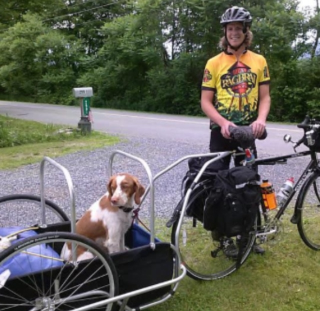 Luke Kimmes with his dog, Buddy, in Vermont about to start the trip (2014)