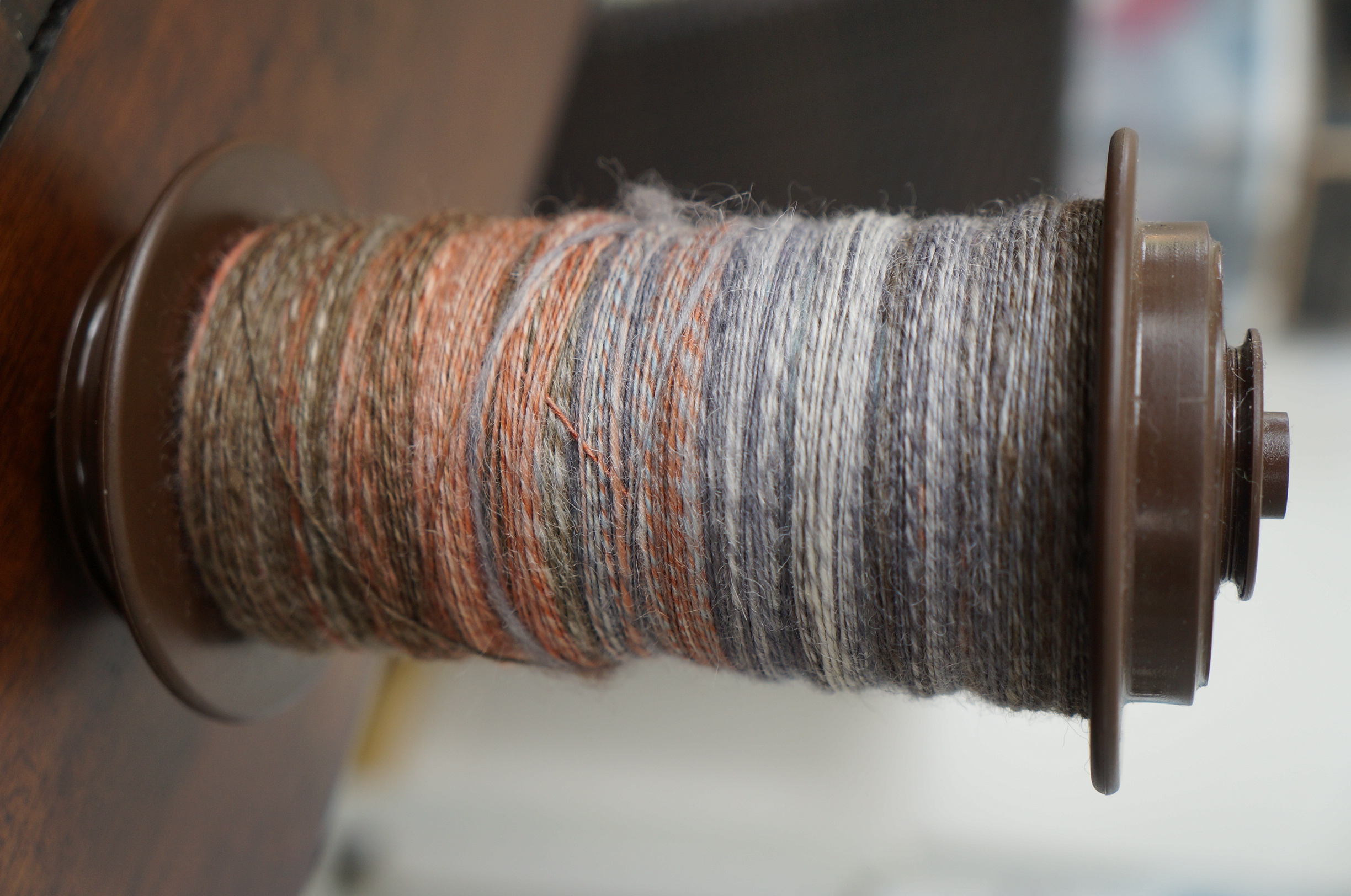 Squoosh Fiberarts SW BFL single. Spun in Z direction, at 16:1 ratio.