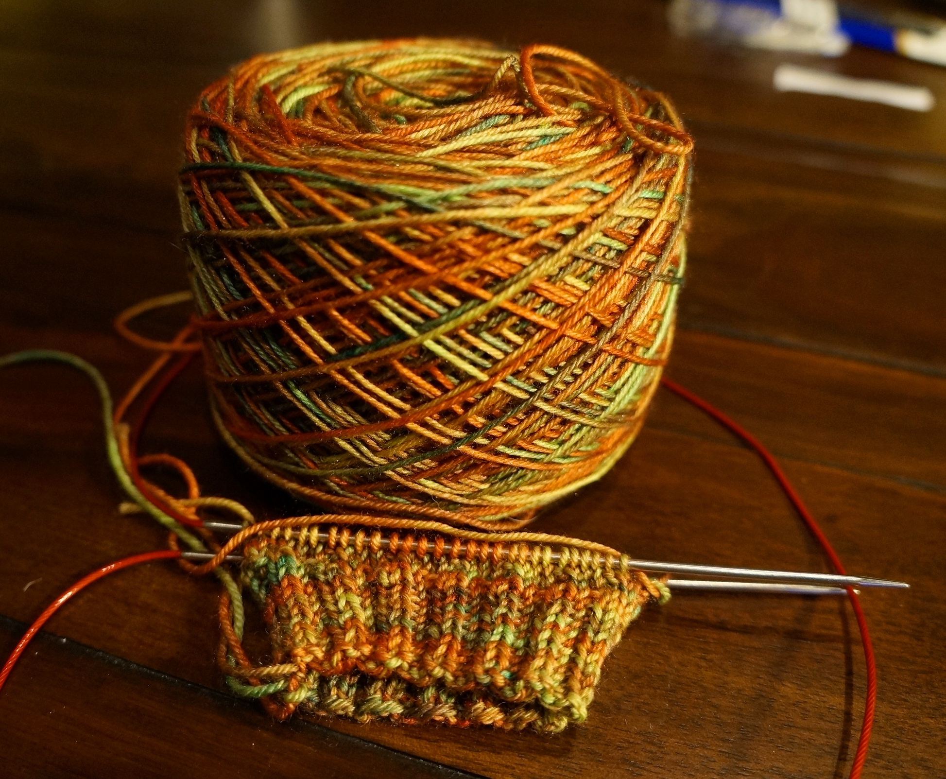 WIP: My Hermoine's Everyday Socks, out of my handdyed Cascade Heritage Silk.