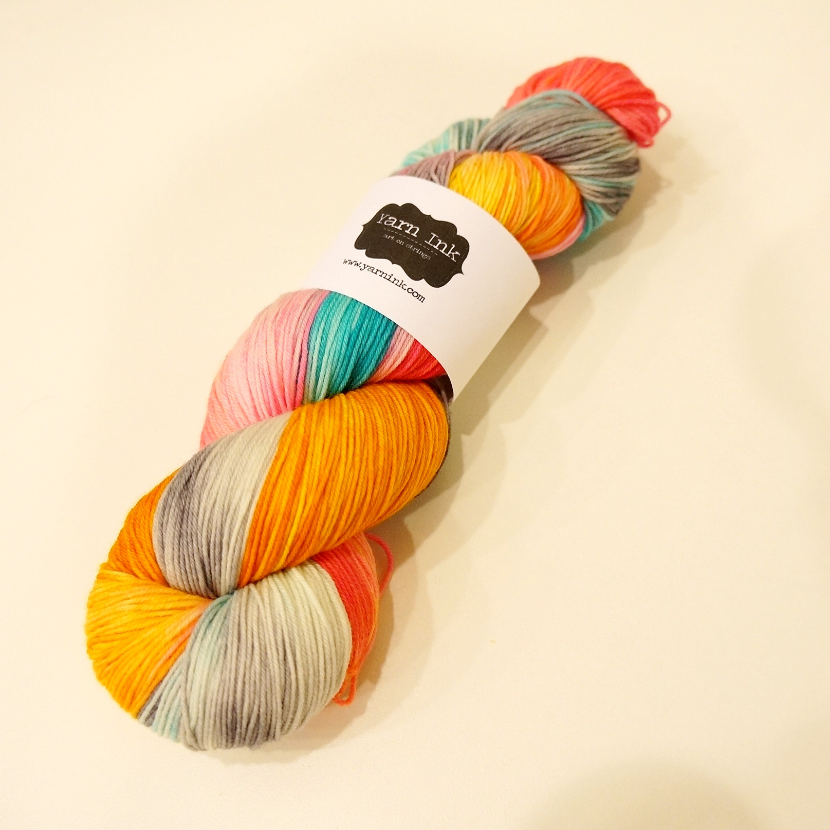 "My first #DestashChallenge reward: Yarn Ink's Sock yarn in ""Love in an Elevator"" colorway."