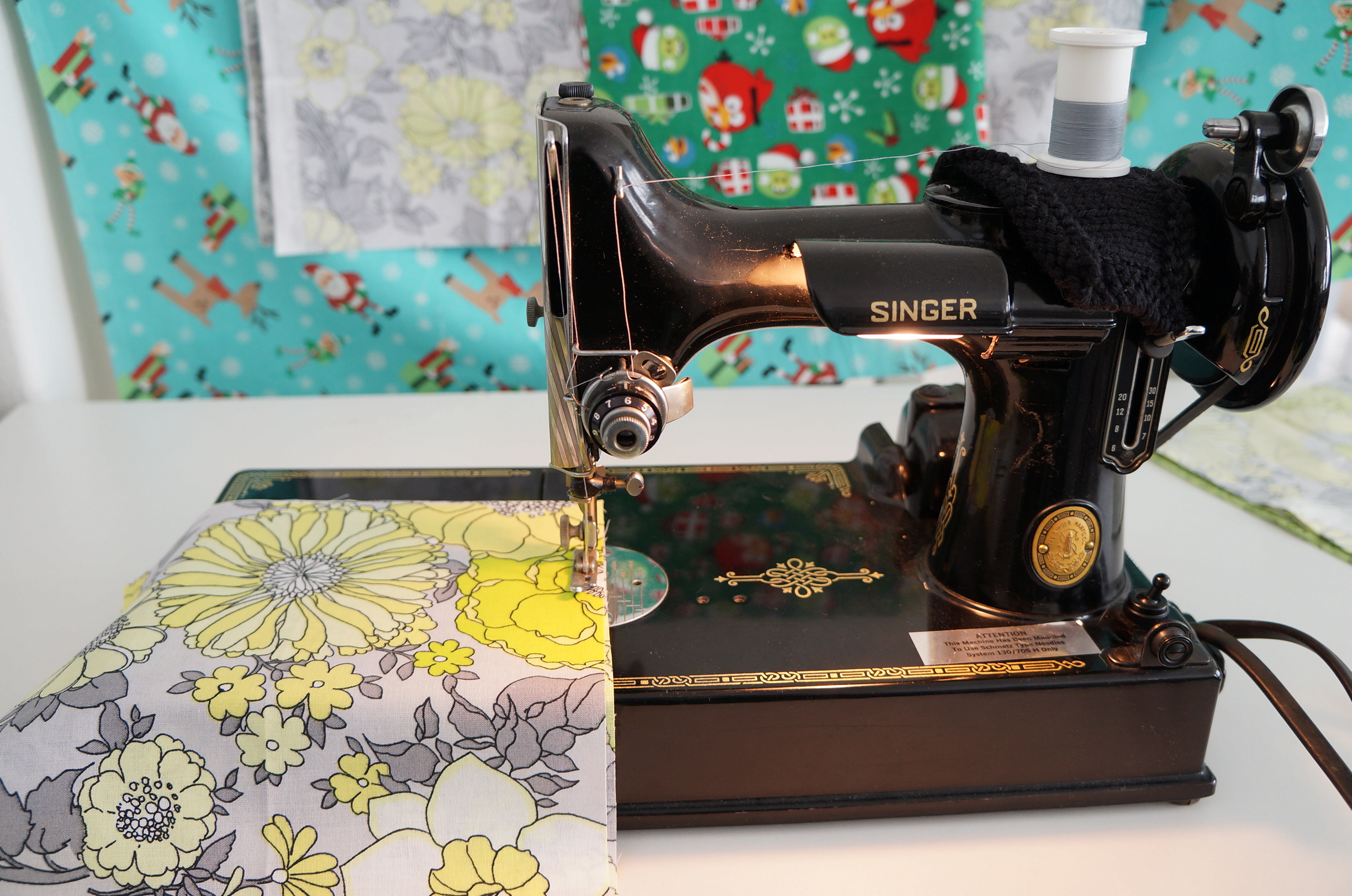 Sewing project bags on my Singer Featherweight 221.