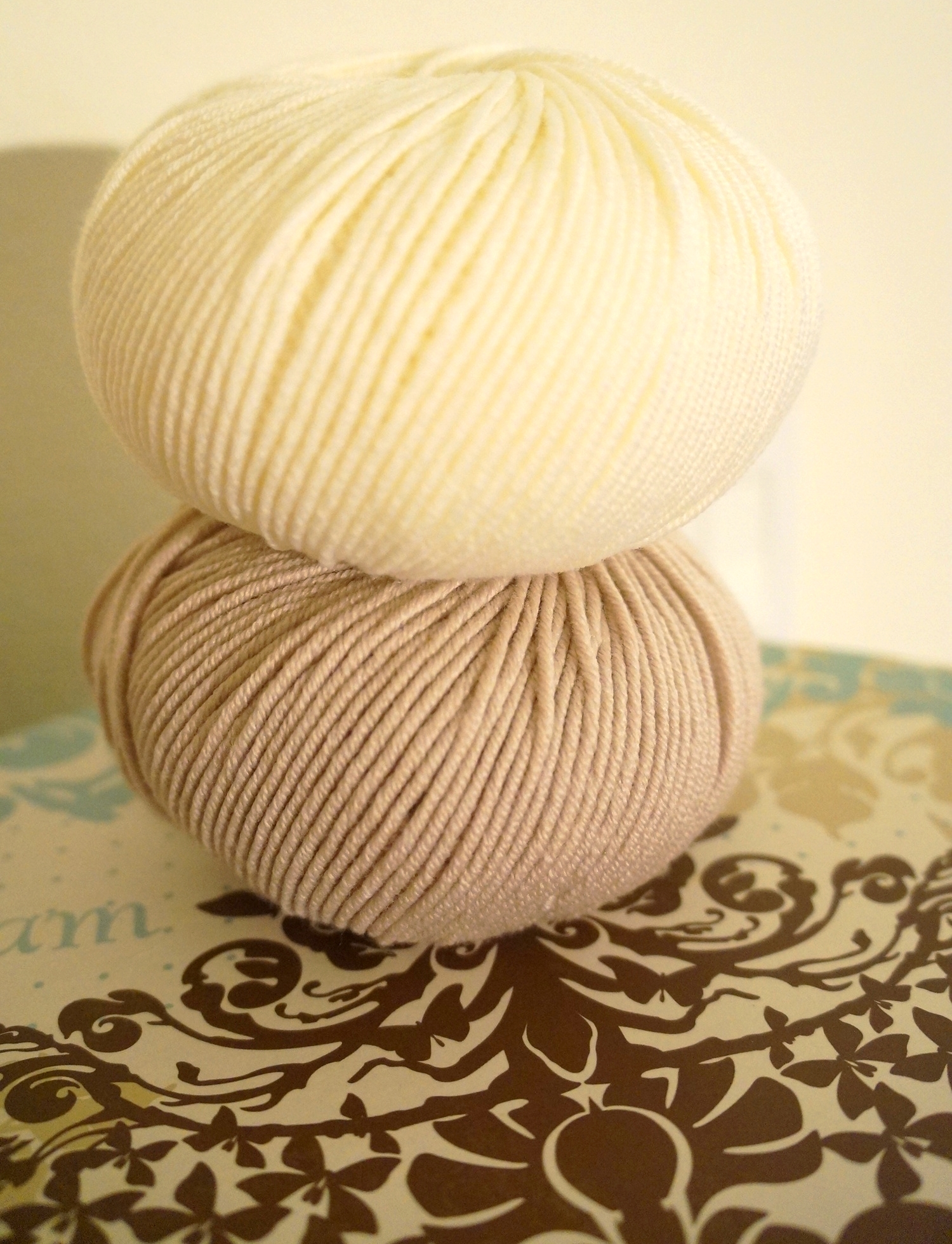 Australian Superfine Merino by Cleckheaton, in Shade 21 Cardboard and Shade 53 Cream