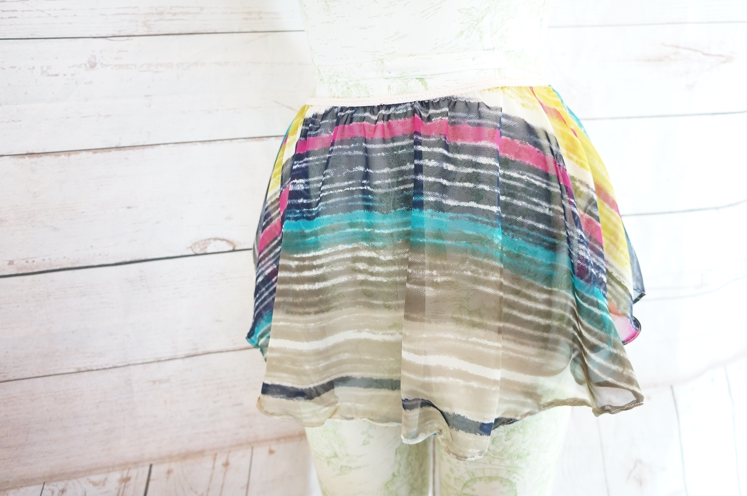 "Candy & Bagel ""Pull Up & Out"" skirt in pink/gray/turquoise/brown stripes"