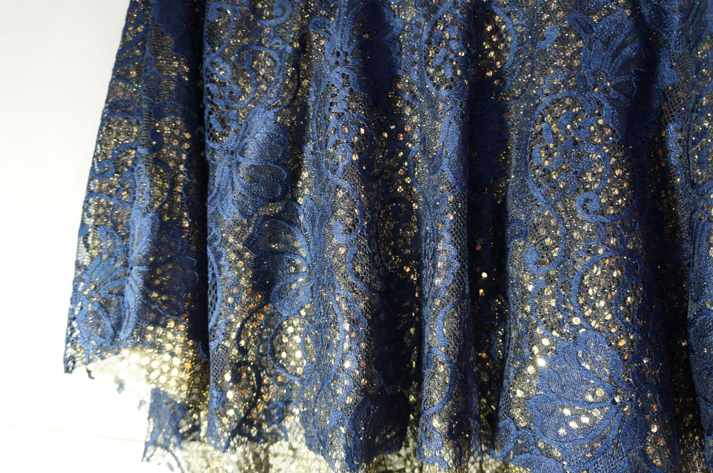 "Shine and be yourself! Candy & Bagel ""Radiance"" skirt in Blue and Gold."