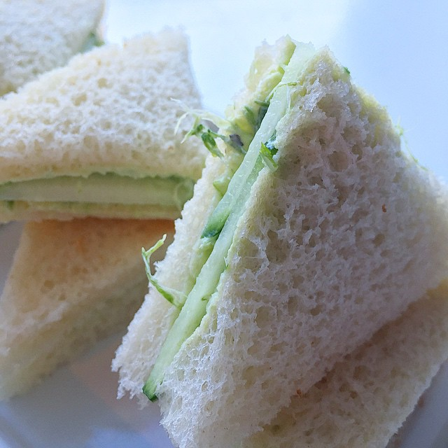 Tea sandwich 3 Rampscallion ( literally ramps and scallions) cream cheese with cucumber #foodstagram.jpg