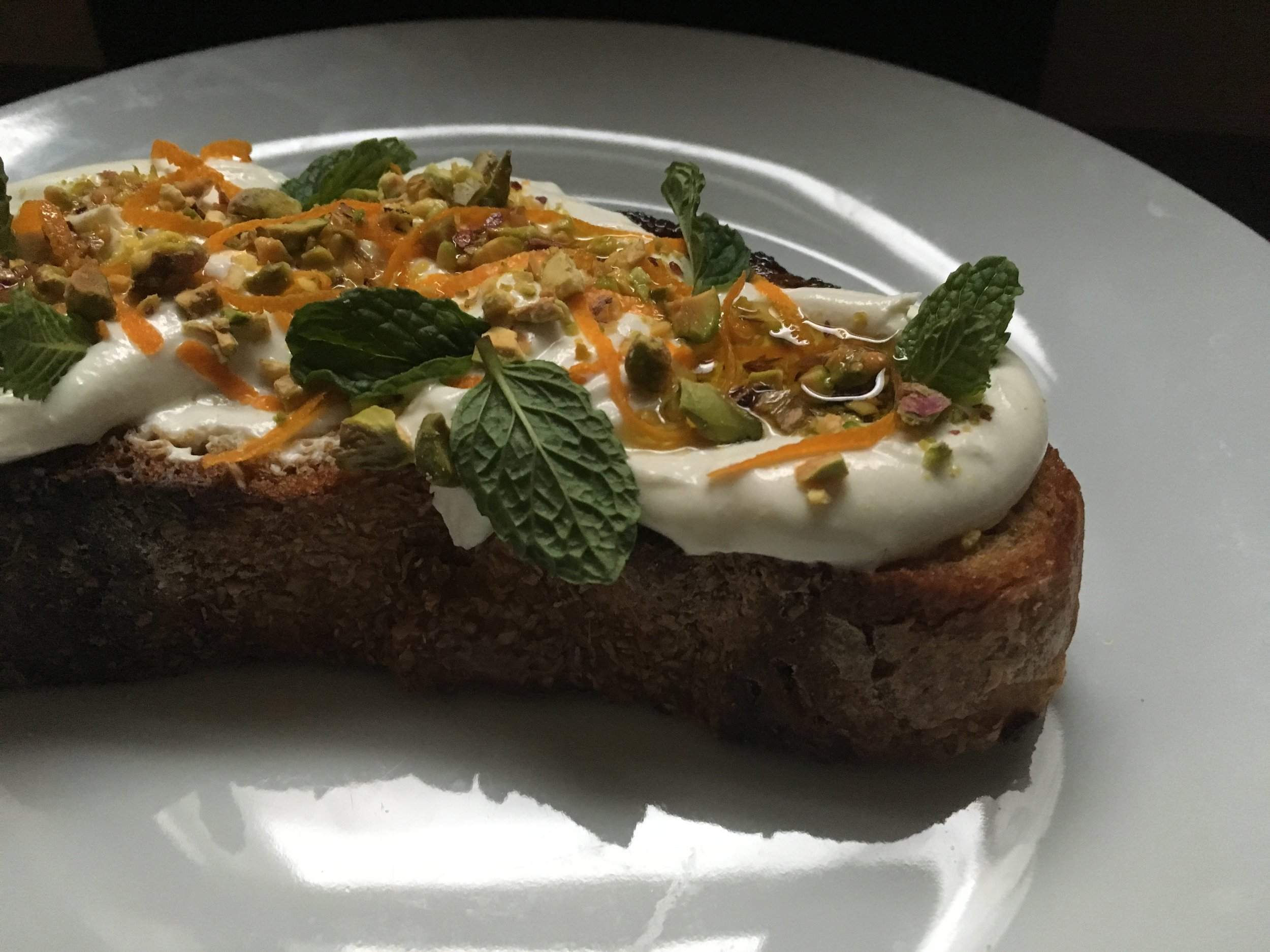 "Culture Cheese Magazine - ""Whipped Chevre Tartine."" Recipe development, styling and photos."