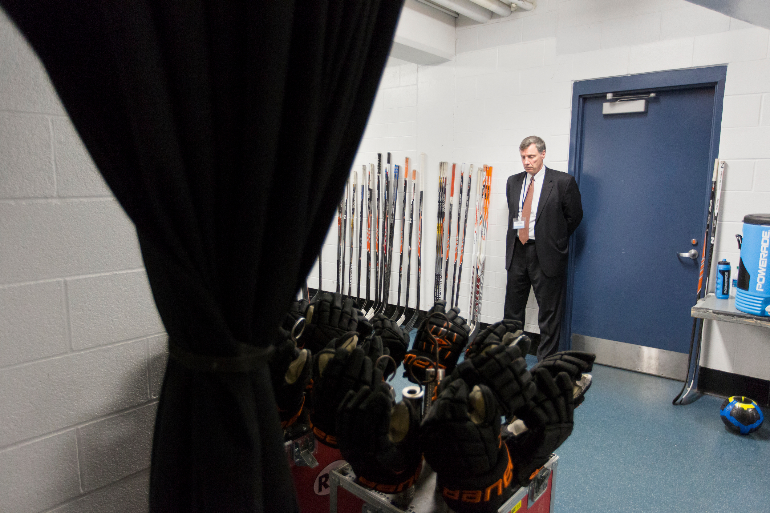 "Wayne Wilson, head coach of Rochester Institute of Technology men's hockey team, stands in a hallway before the Atlantic Hockey Conference championship hockey game against Mercyhurst University at Blue Cross Arena on March  21, 2015 in Rochester, N.Y. ""It feels great to be back (into the championship game),"" said Wilson."