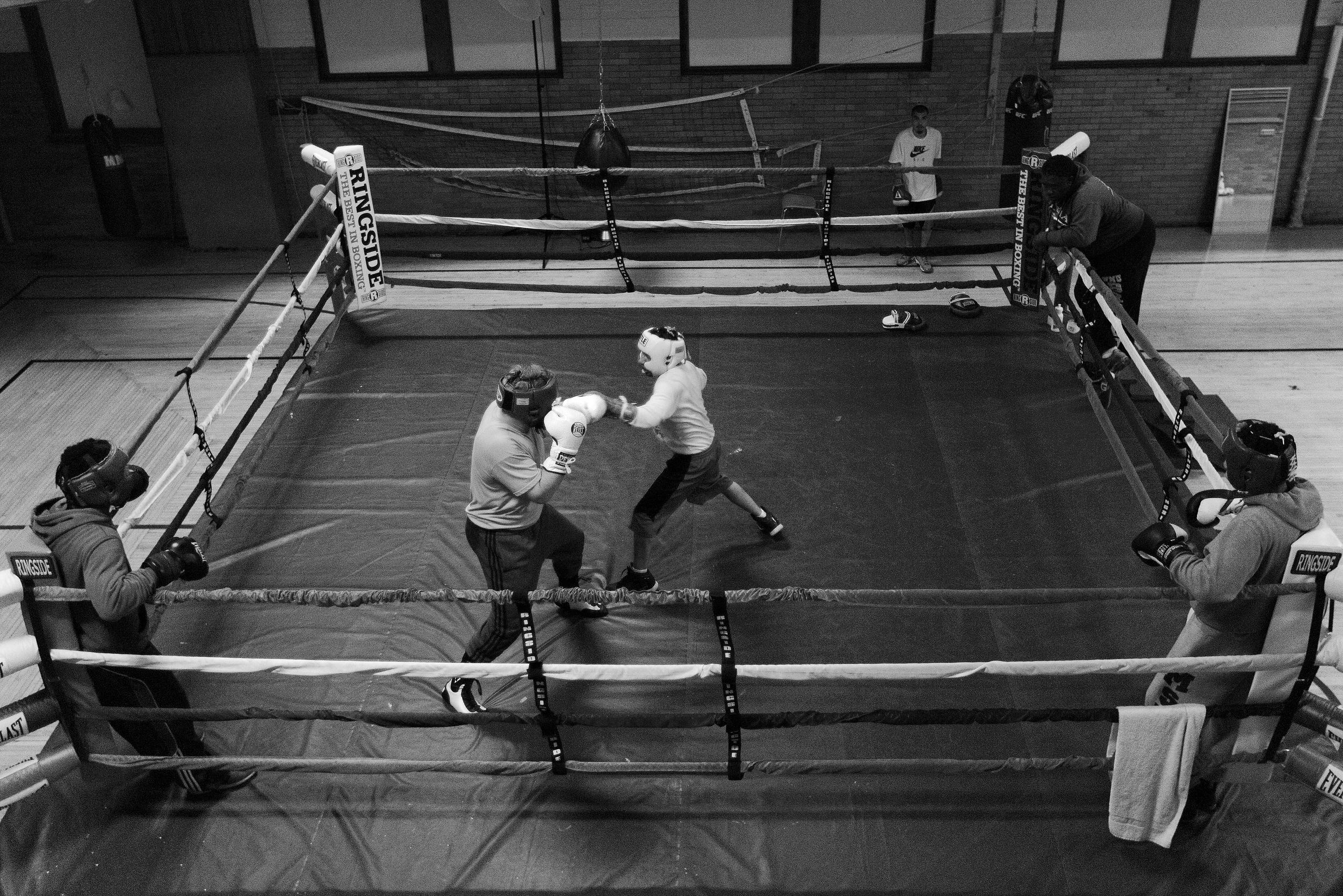 Boxers spar at Eastside Boxing Club in Kalamazoo, Mich. on May 17, 2016. (Bryan Bennett | MLive.com)