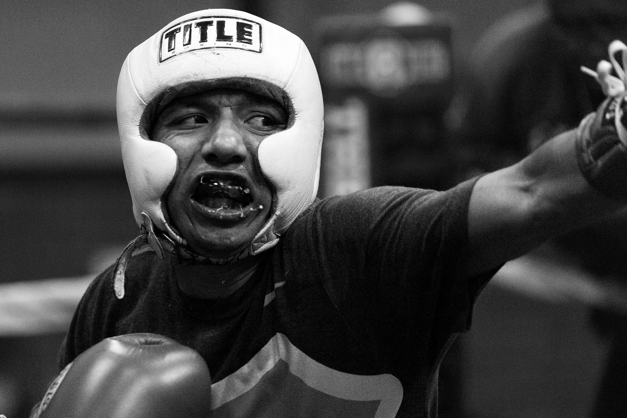 """Santiago """"Santos"""" Garcia spars at Eastside Boxing Club in Kalamazoo, Mich. on May 25, 2016. Garcia won the Michigan Golden Glove novice class state championship at the 108 pound weight class in 2015 and 2016. (Bryan Bennett 
