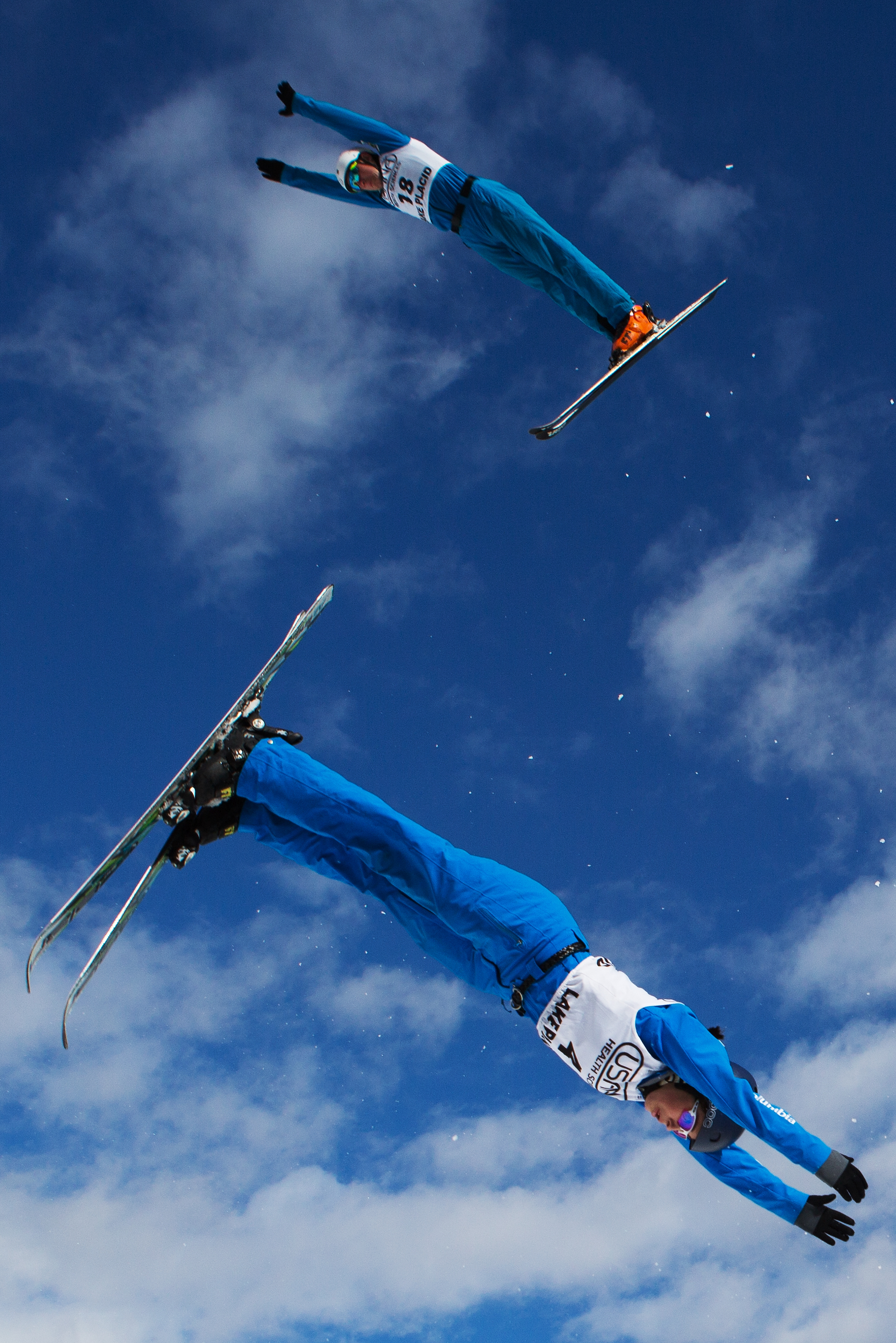 USA's Justin Schoenefeld, top, and Megan Smallhouse participate in training at the NorAm freestyle aerial competition at Lake Placid Olympic Ski Jumping Complex in Lake Placid, N.Y. on Feb. 19, 2017. Schoenefeld placed 13th in the mens division with a score of 53.23	 and Smallhouse places second in the women's division with a score of 52.20. (Bryan Bennett)