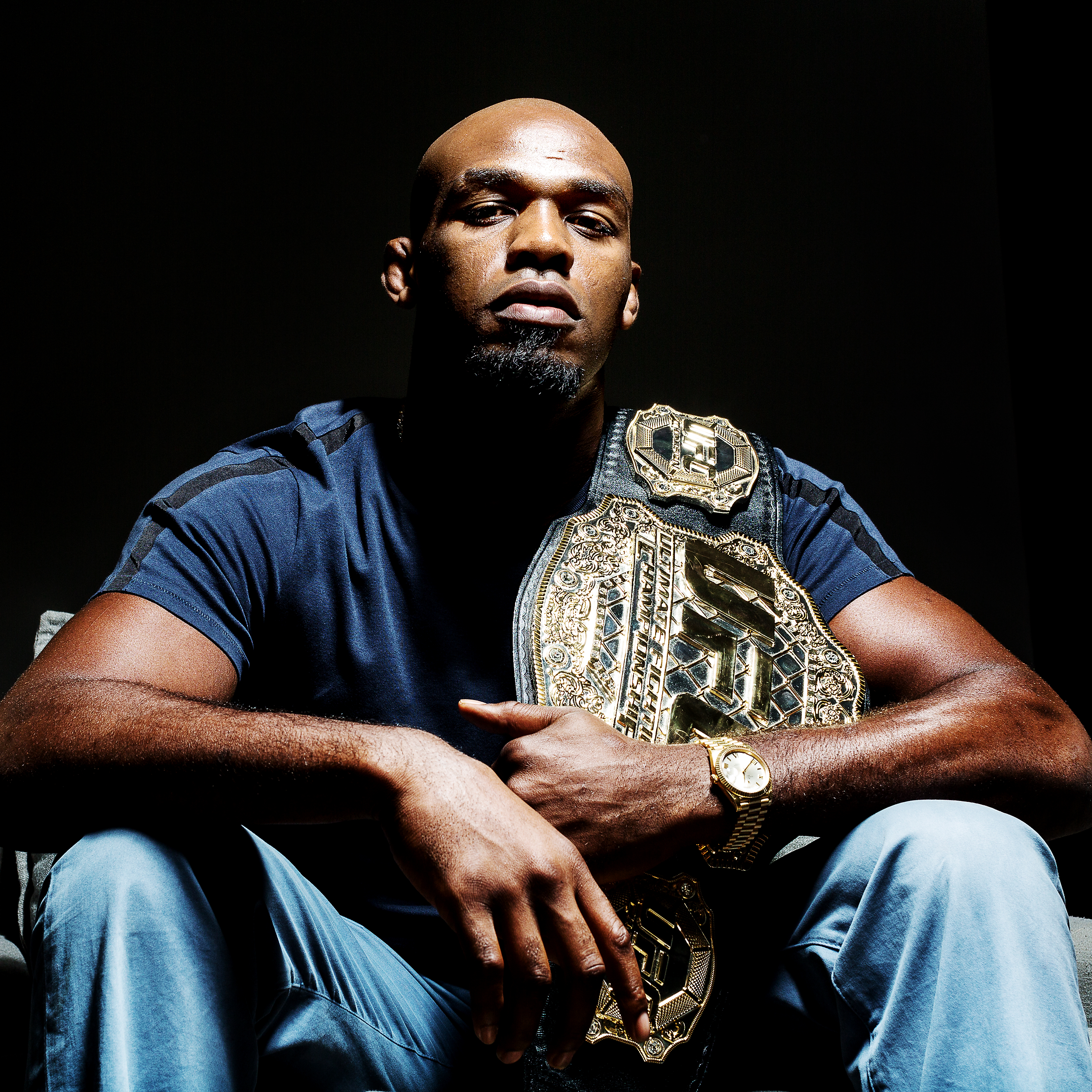 UFC Light Heavyweight Champion Jon Jones is photographed on August 7, 2017 in New York, N.Y. Jones defeated Daniel Cormier via TKO 3:01 in round three of UFC 214 on July 29, 2017 to regain the UFC Light Heavyweight Championship. (Photo by Bryan Bennett/The Players' Tribune)
