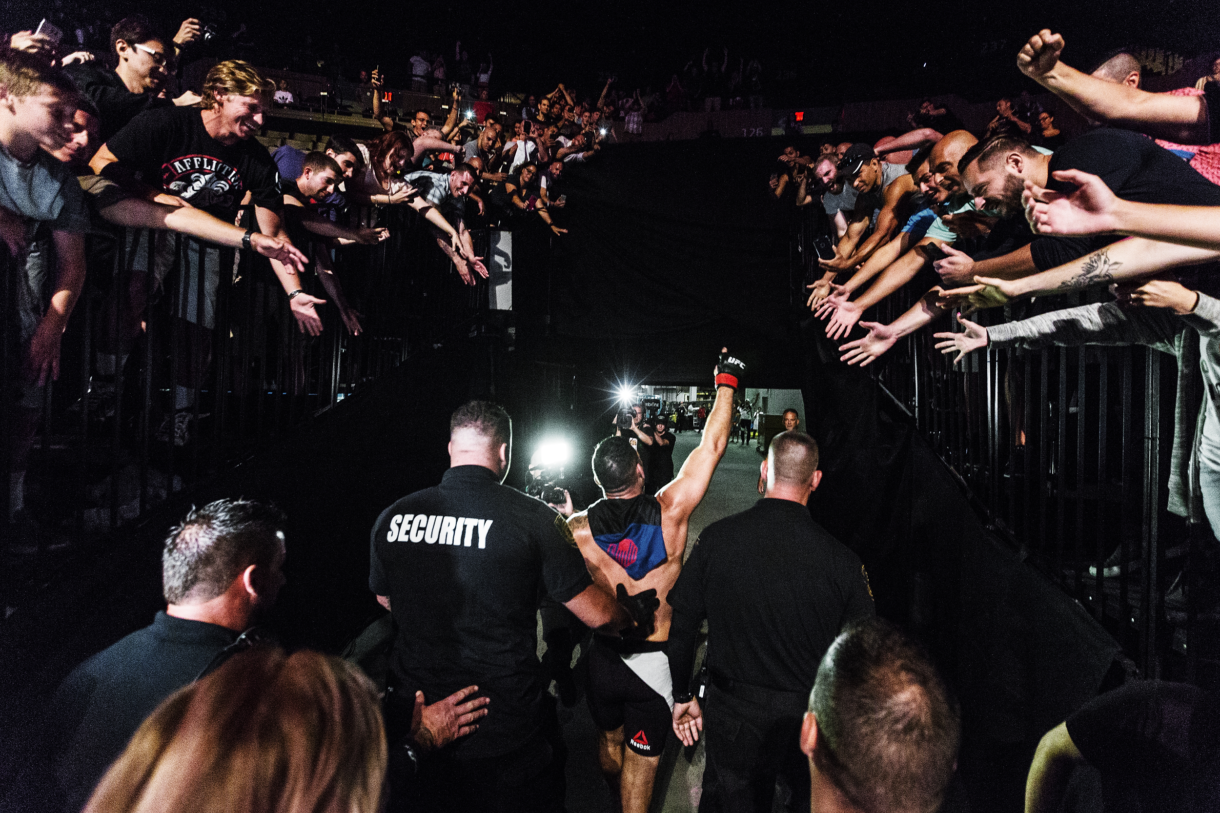 UFC Fighter Chris Weidman leaves the arena after defeating Kelvin Gastelum by third round submission in the UFC Fight Night Long Island main event in his hometown at Nassau Veterans Memorial Coliseumon July 22, 2017 in Uniondale, N.Y. (Photo by Bryan Bennett/The Players' Tribune)