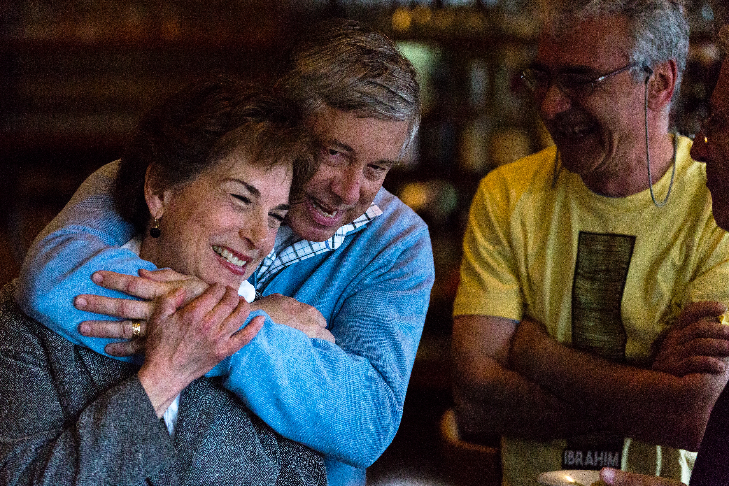 U.S. Rep Fred Upton, R-St. Joseph, and U.S. Rep. Jan Schakowsky, D-Illinois, celebrate the one-year deferral granted to Ibrahim Parlak and a Kurdish New Year at Caf� Gulistan Wednesday, March 30, 2016 in Harbert, Mich. (Bryan Bennett / Kalamazoo Gazette)