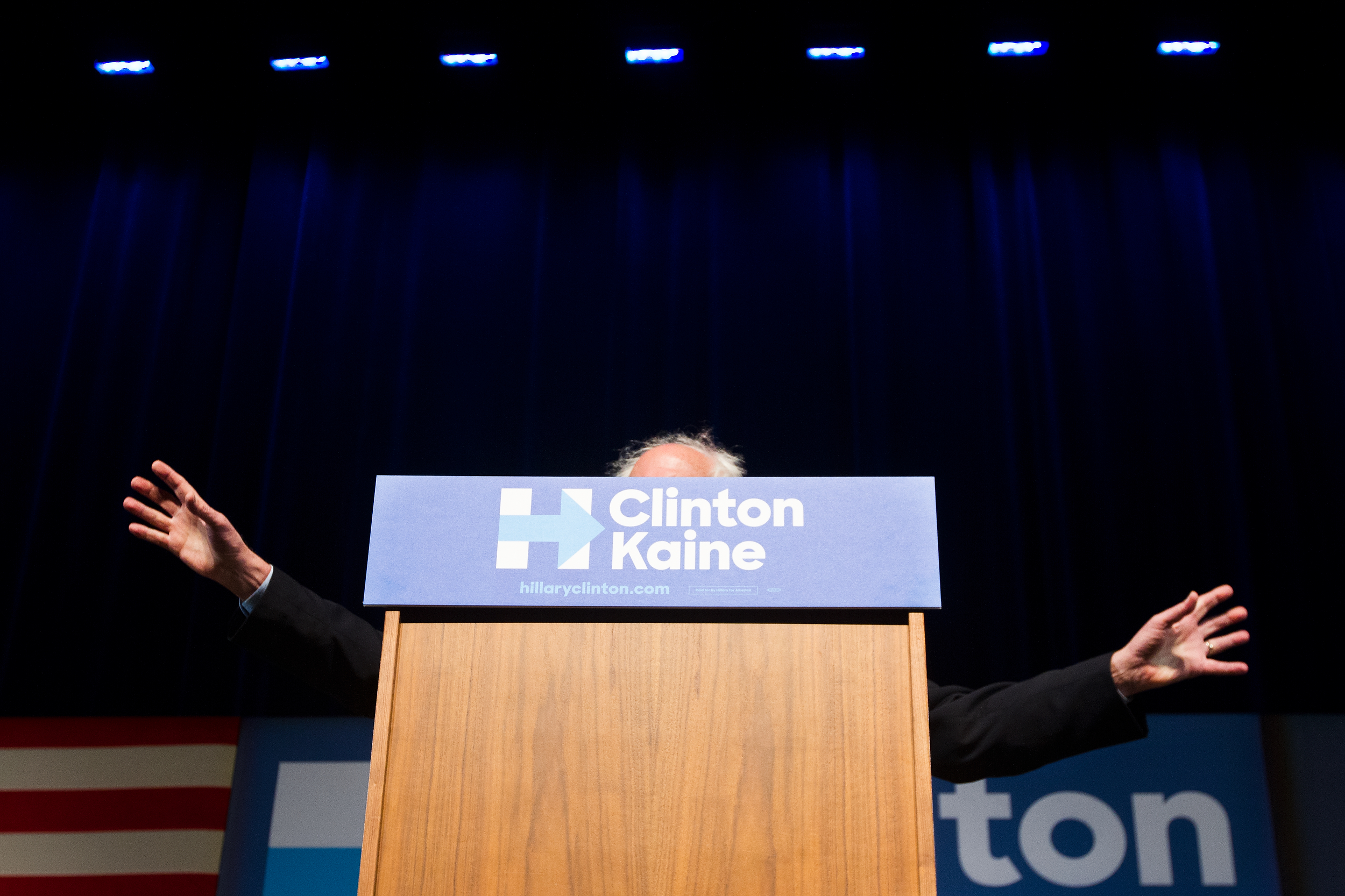 Sen. Bernie Sanders, I-Vt., speaks while campaigning for Democratic Presidential Candidate Hillary Clinton at Miller Auditorium on Western Michigan University's campus in Kalamazoo, Mich., Wednesday, Nov. 2, 2016. (Bryan Bennett | MLive.com)