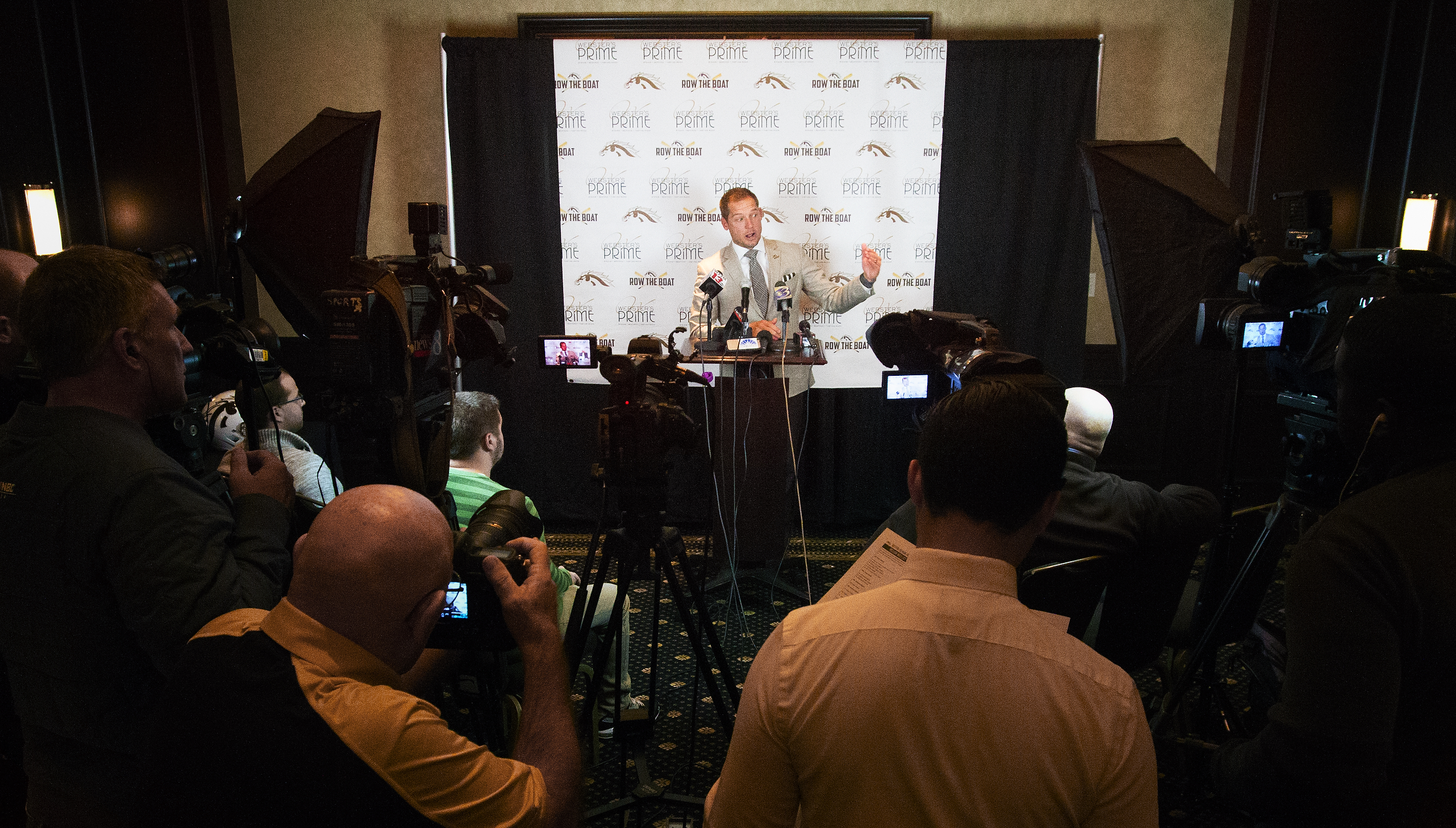 Head Coach P.J. Fleck speaks with media during a press conference at the Radisson Plaza Hotel in Kalamazoo, Mich. on Nov. 22, 2016.