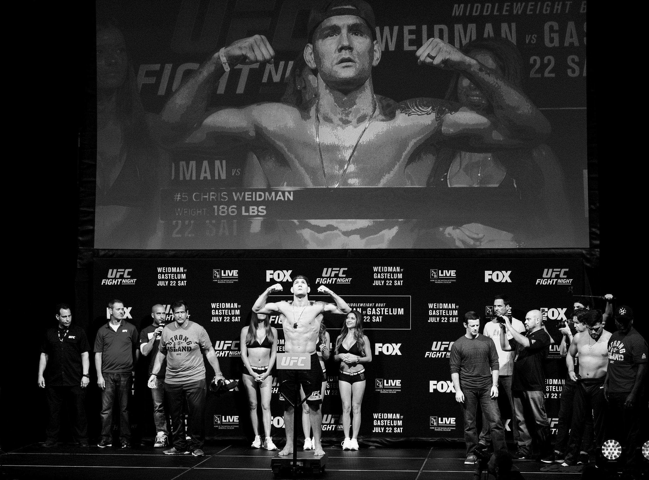 UFC Fighter Chris Weidman at UFC Fight Night Long Island weigh-in on July 21, 2017 in Uniondale, N.Y. (Photo by Bryan Bennett/The Players' Tribune)