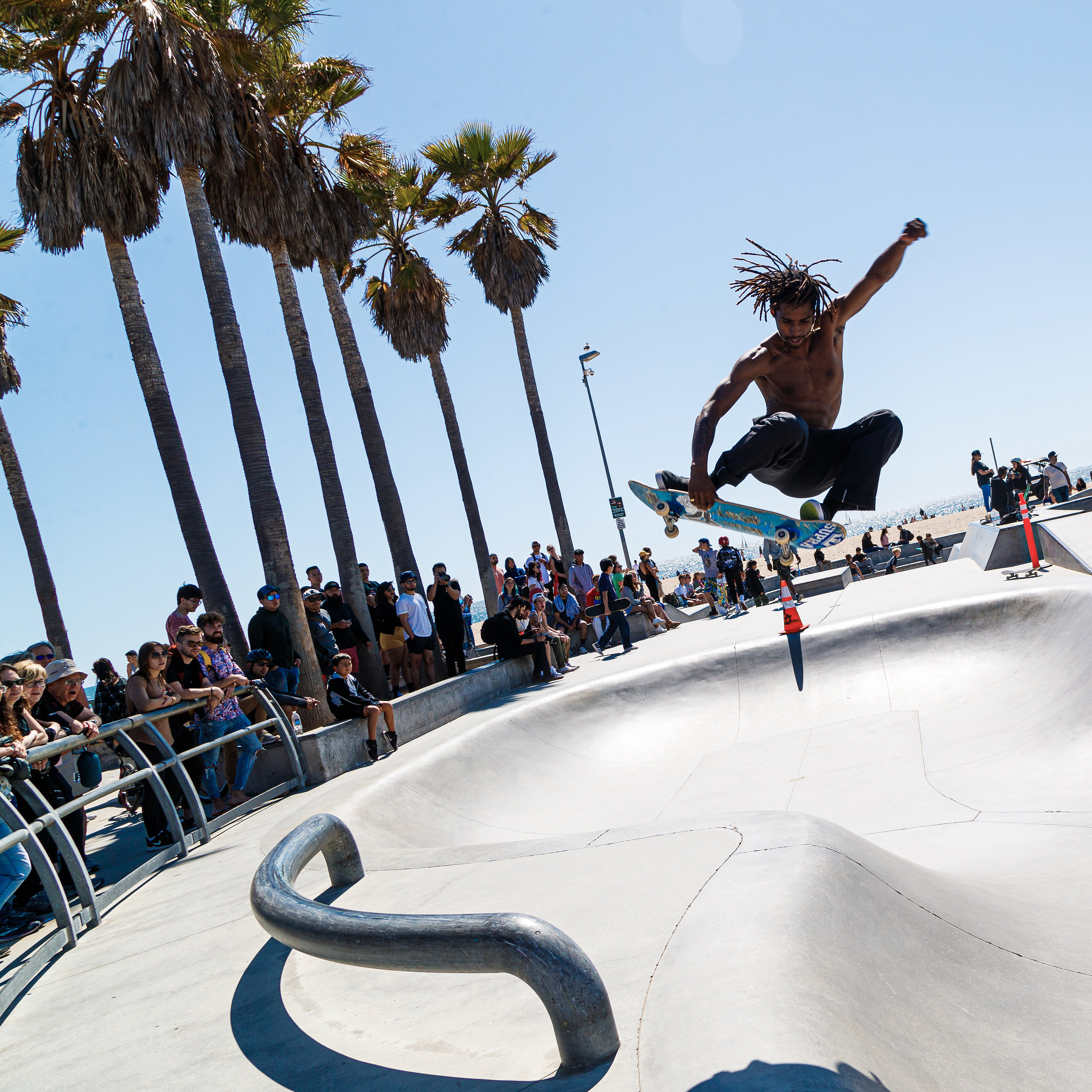 A skateboarder soars through the air at Venice Beach Skate Park on May 27, 2019 in Venice Beach, Calif. (Photo by Bryan Bennett)