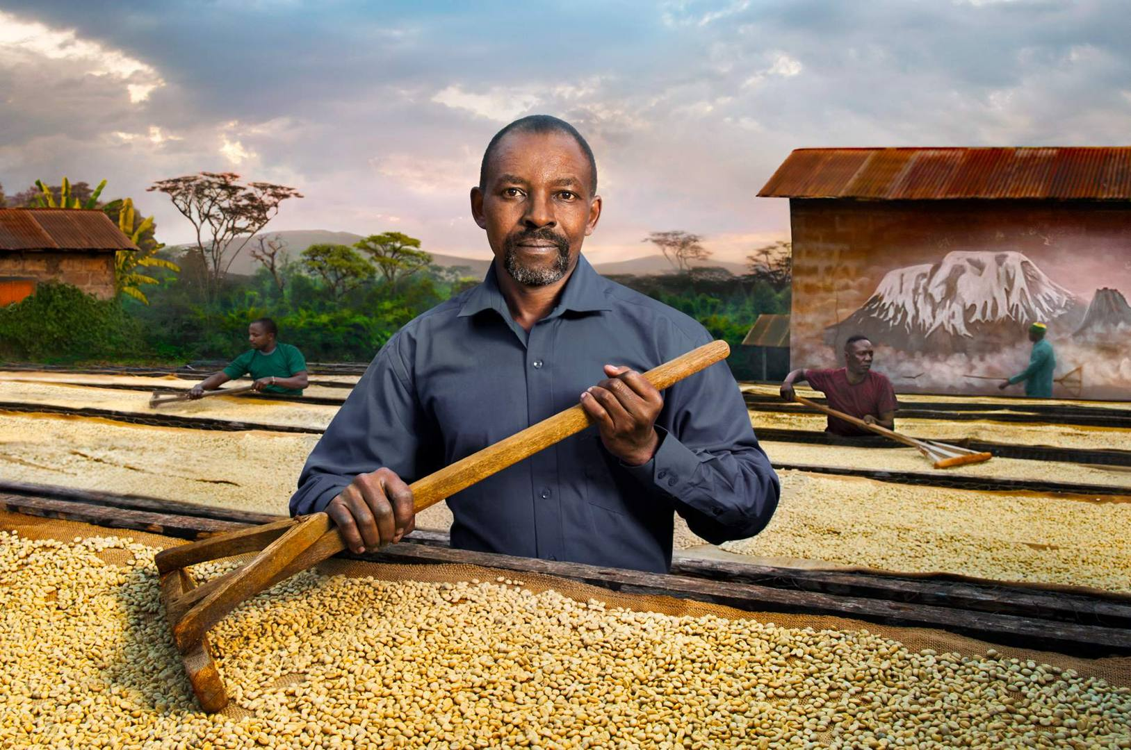 'Kirua calls Tierra' - Father Peter Kilasara, a Tanzanian missionary in the Congregation of the Holy Spirit, he has worked in various countries and is at present the determined leader of the Kirua Children Association in Tanzania. He is surrounded by an expanse of coffee beans drying in the sun, as a defender and protector of his tradition in Tanzania