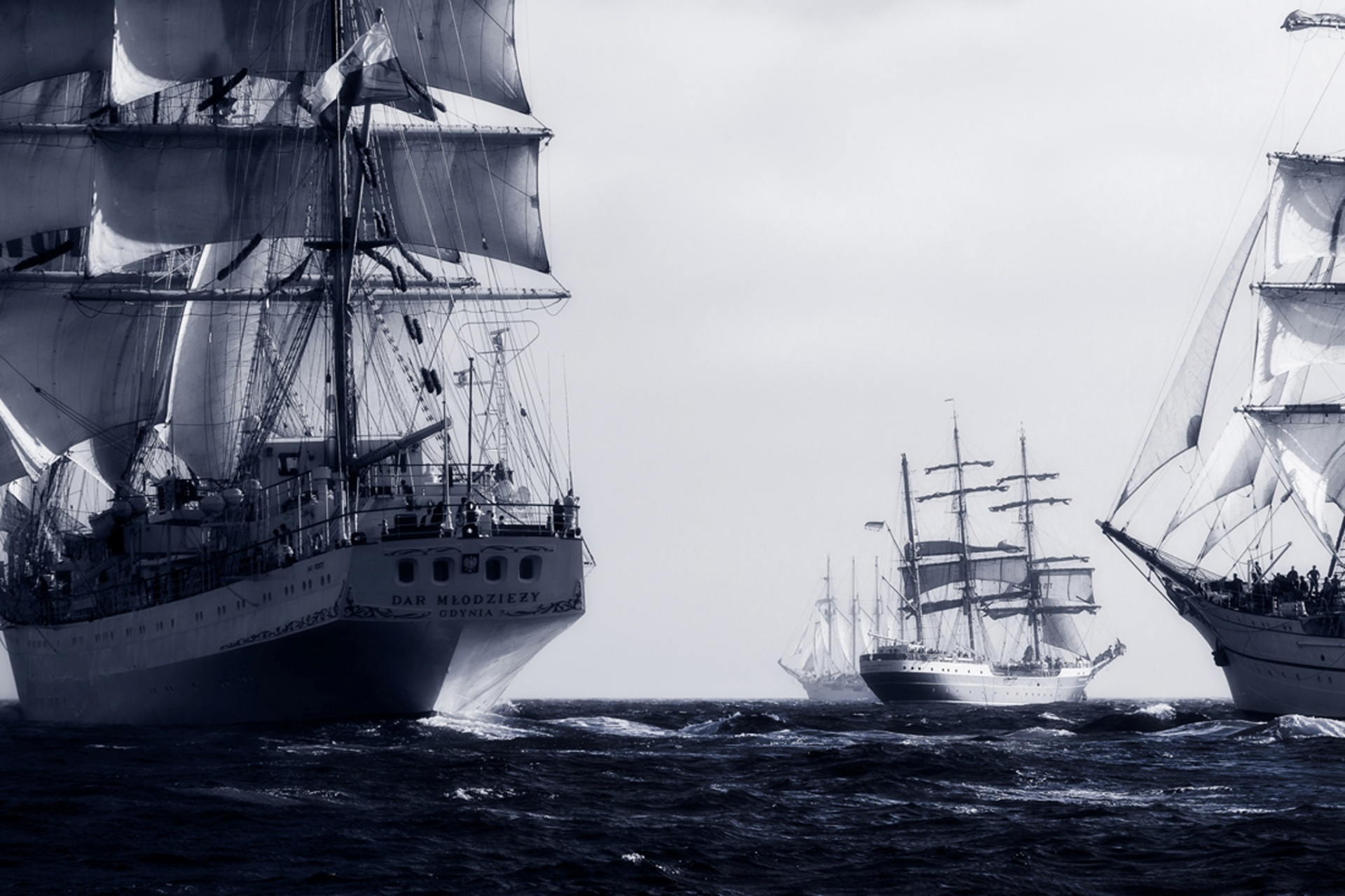Spirit of Adventure, commended, Gonçalo Barriga, Portugal Several tall ships at the starting line during the Tall Ships Races event off the coast of Cascais, Lisbon, Portugal Photograph: Gonçalo Barriga/TPOTY