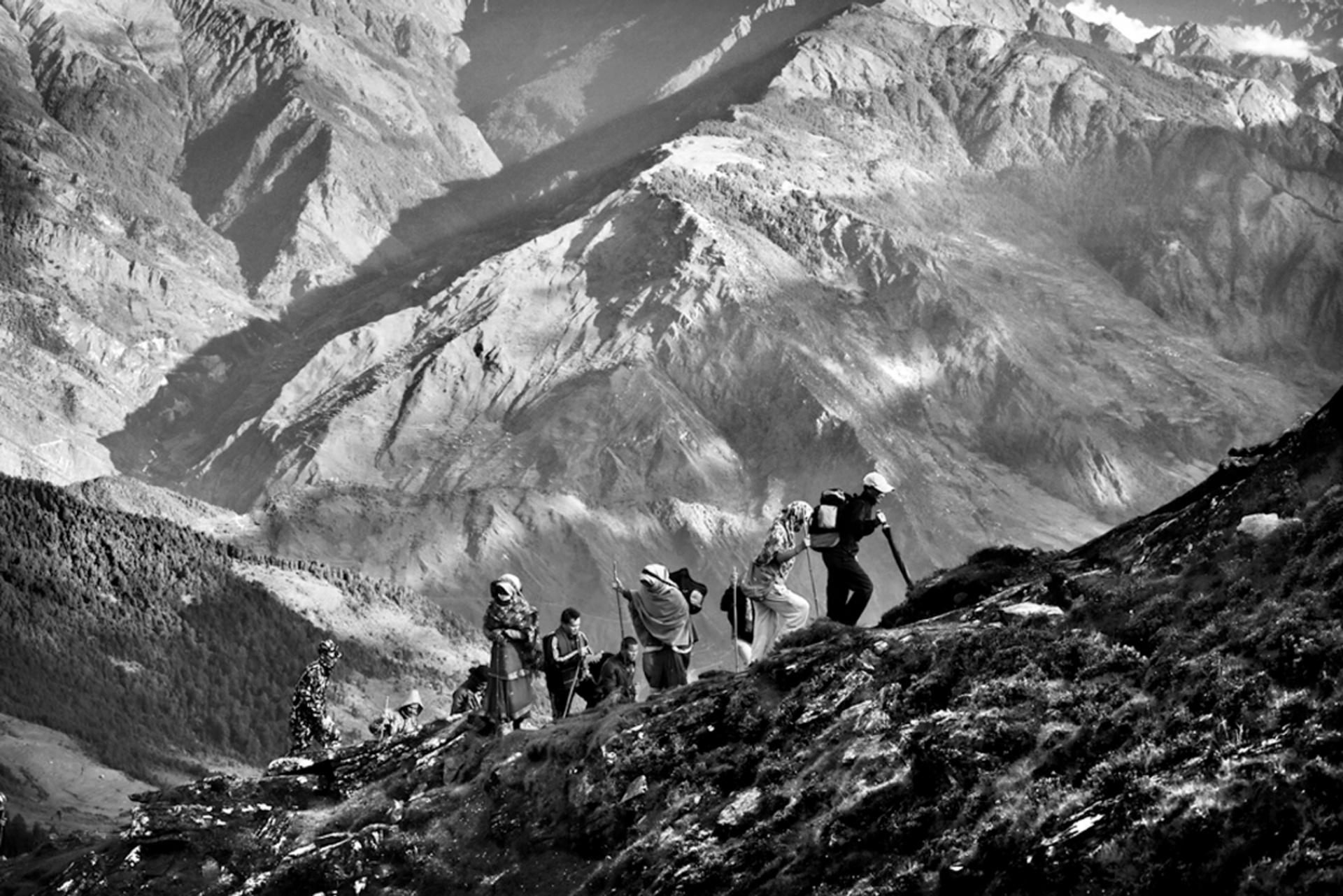 Spirit of Adventure winner, best single image, Timothy Allen, UK Pilgrims walking up to Gosaikunda Lake at 14,370ft in the Himalaya, Langtang, Nepal Photograph: Timothy Allen/TPOTY