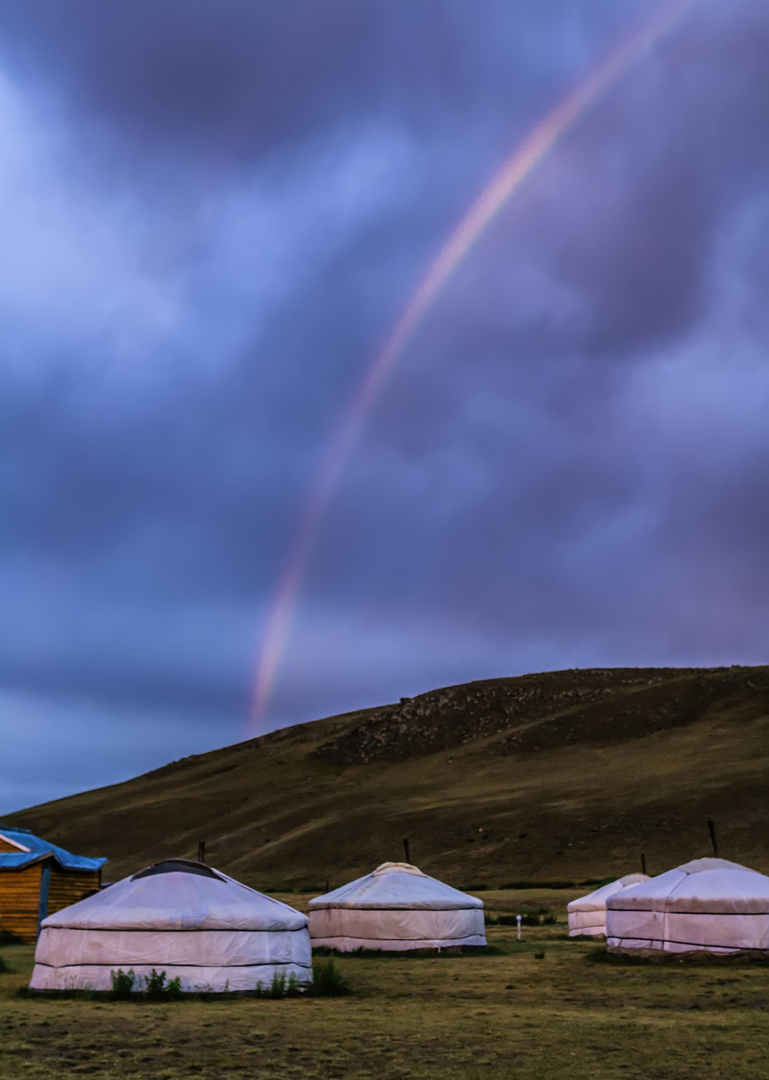 Rainbow Over Mongolian Gers