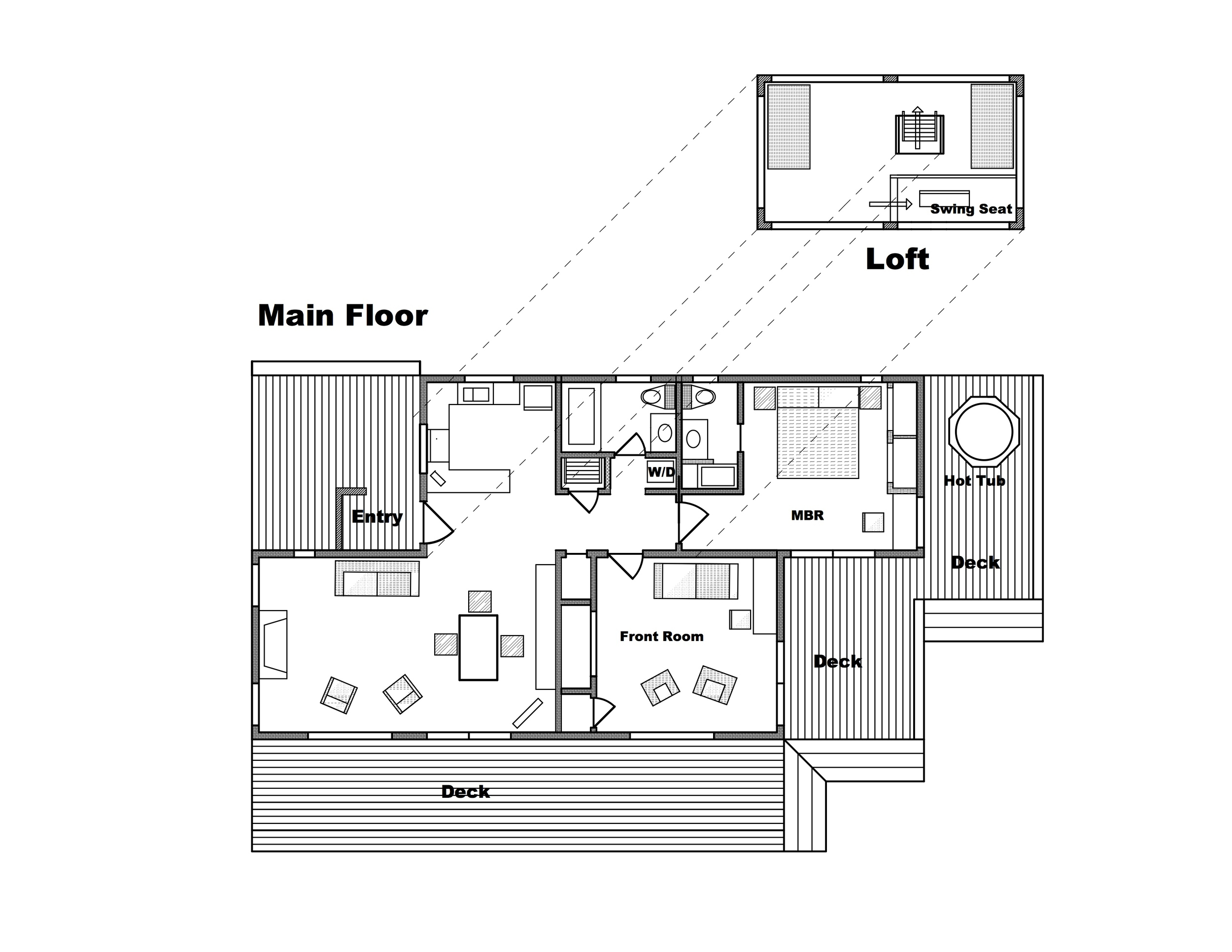 Floor plan of Casa Pacis. A detached garage/annex building on the NE side of the property is not shown. The loft is unlocked but is not a sleeping area for renters. The detached garage (not shown) is accessible to renters for storage; but the rest of that annex is excluded from the rented space and remains vacant during rental periods.