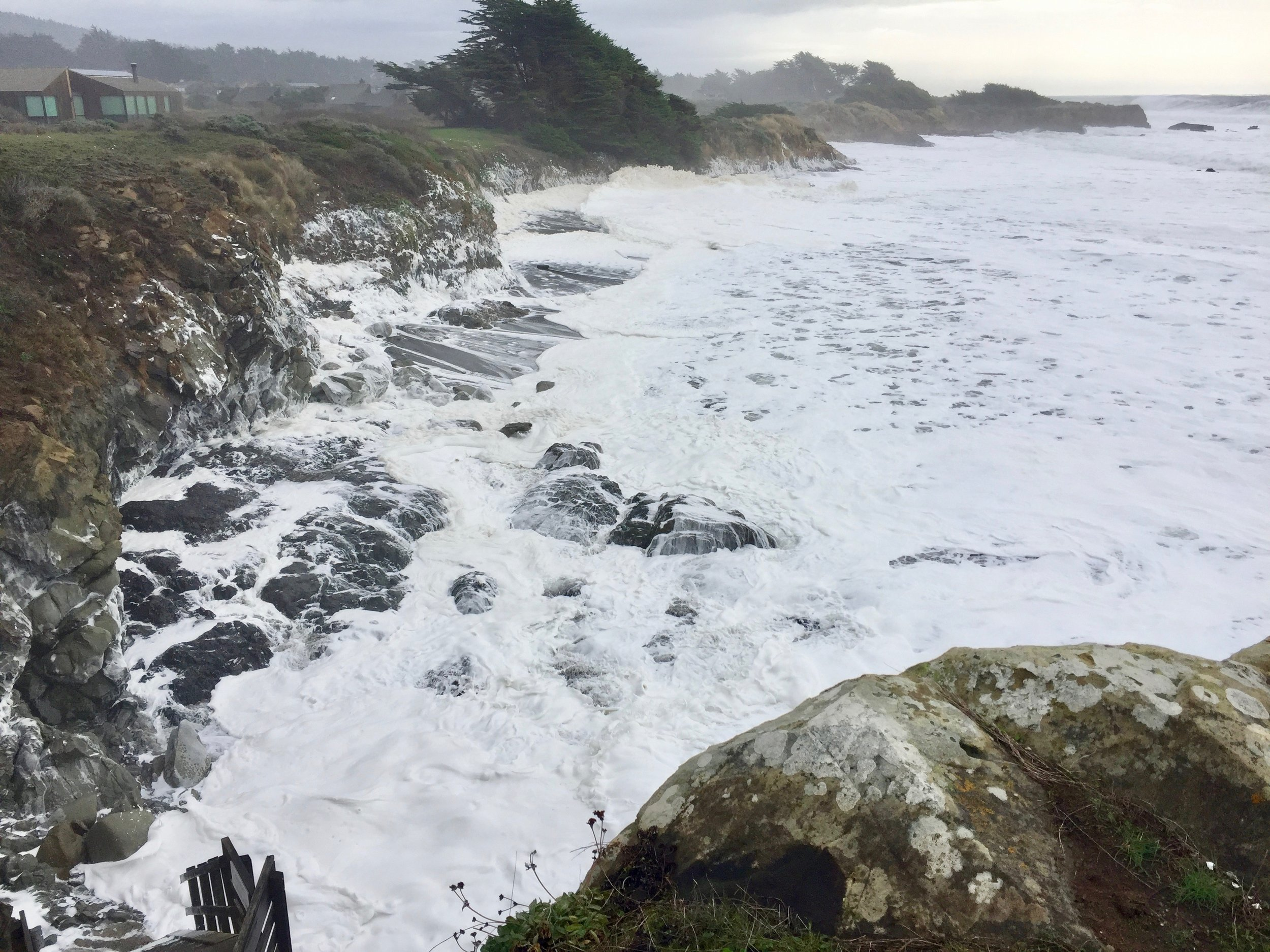 Walk-on-Beach in front of Casa Pacis during a super storm, with up to 50' waves (photo by Klaus, 1/17/2019)