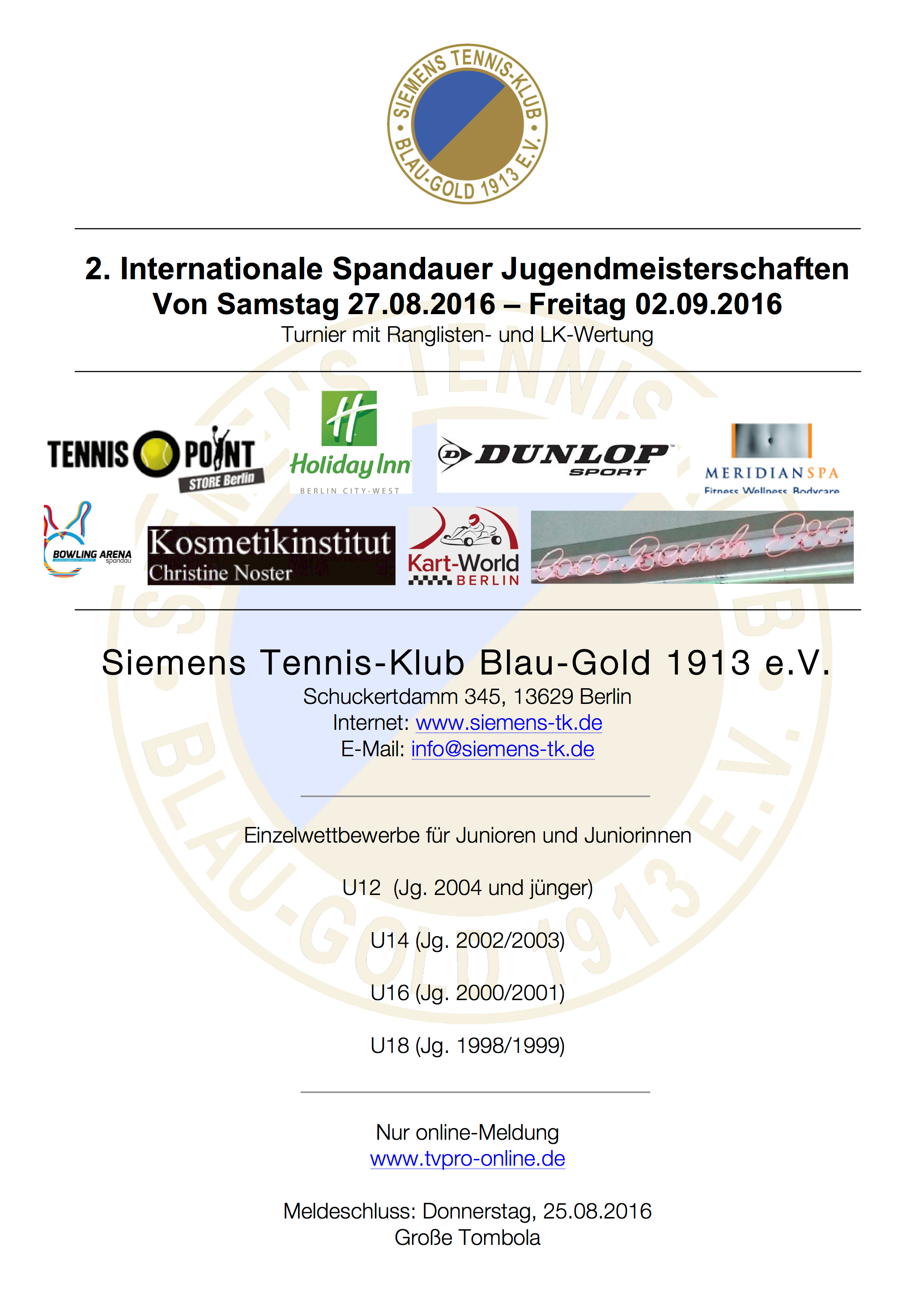 2. Internationale Spandauer Jugendmeisterschaften 2016
