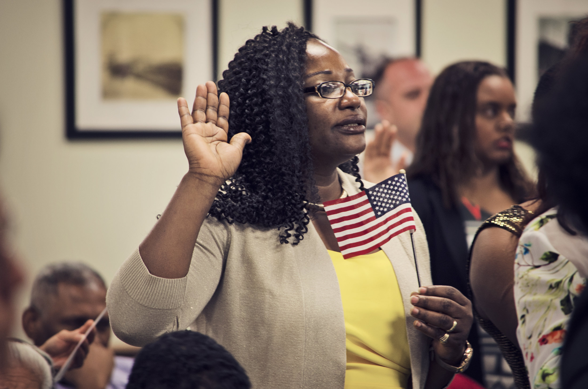 A Naturalization ceremony at the Baltimore field office.
