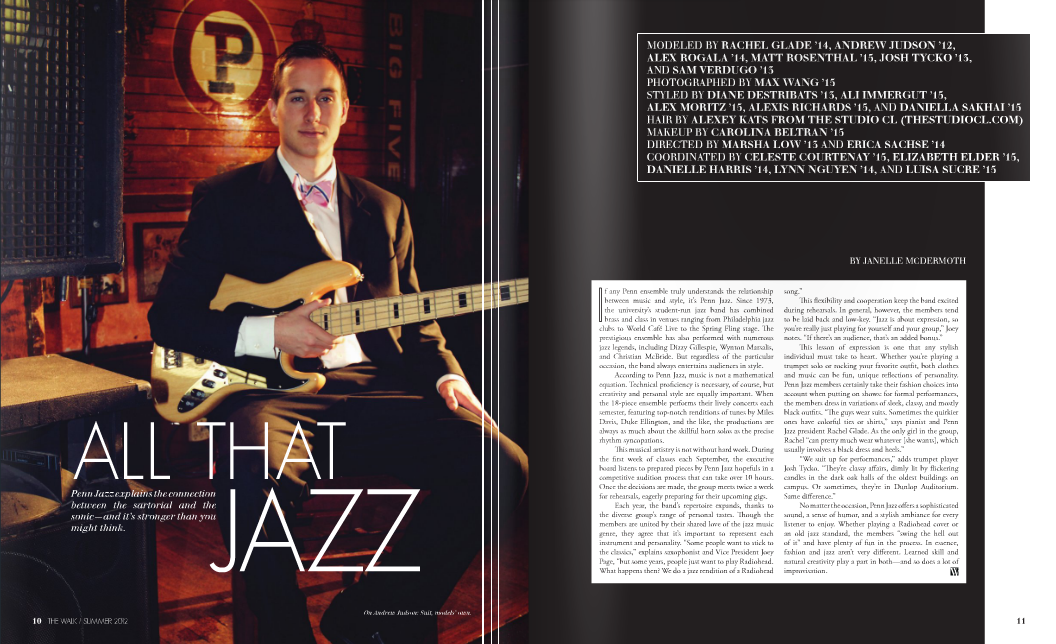 Janelle's article, All That Jazz published in the The Walk Magazine. (Click though for full Summer 2012 Issue)