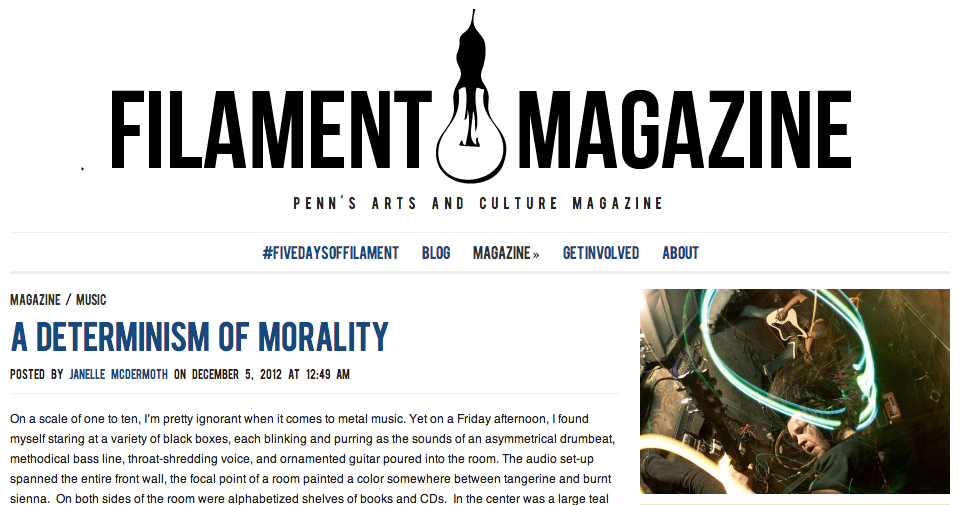 Janelle's profile of friend and metal guitarist Matt Weed was published in Filament Magazine. Click for the full text!