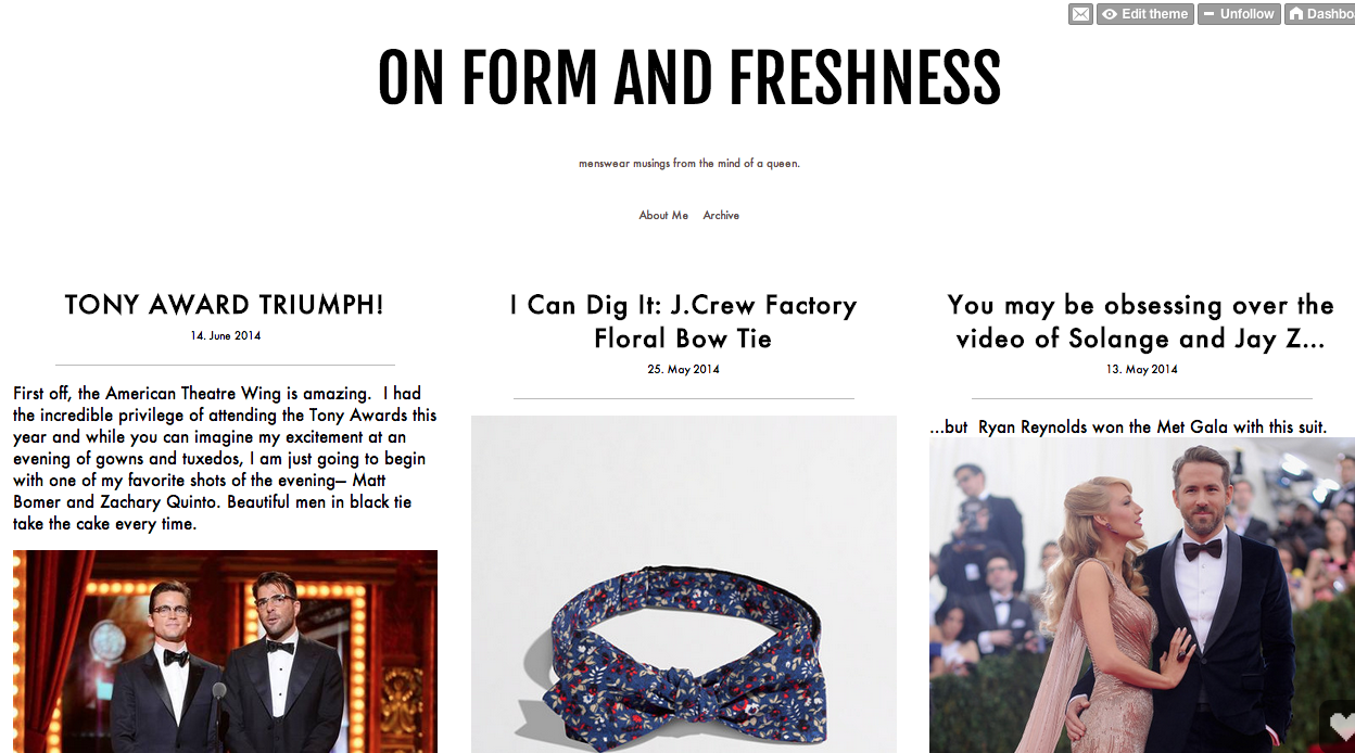 """Janelle gets sartorial on her menswear blog, """"On Form and Freshness"""""""