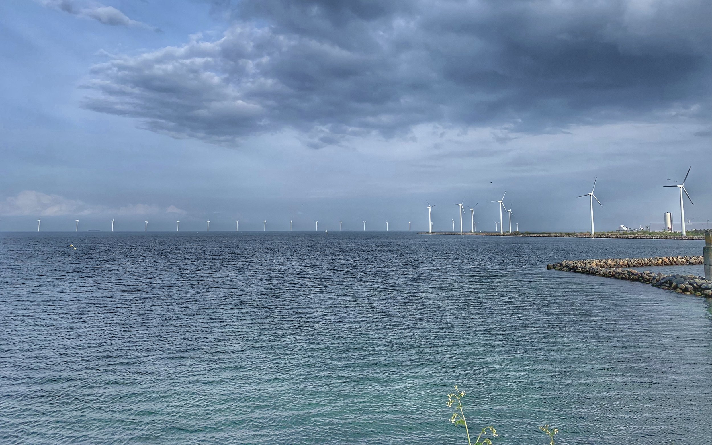 Plenty of wind turbines off the coast of Copenhagen too. The city aims to go carbon neutral by 2025