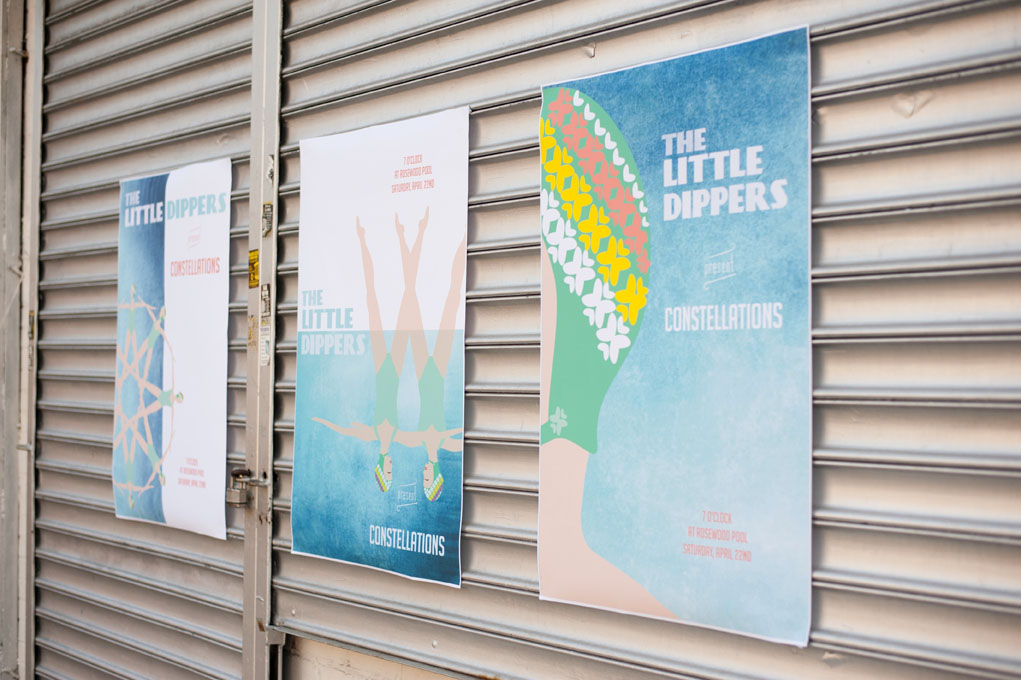 Concept // A three poster series called, The Little Dippers present Constellations. This series draws from the synchronized swimmers of the past, French Poster Art and the shapes swimmers make while they are in the pool.