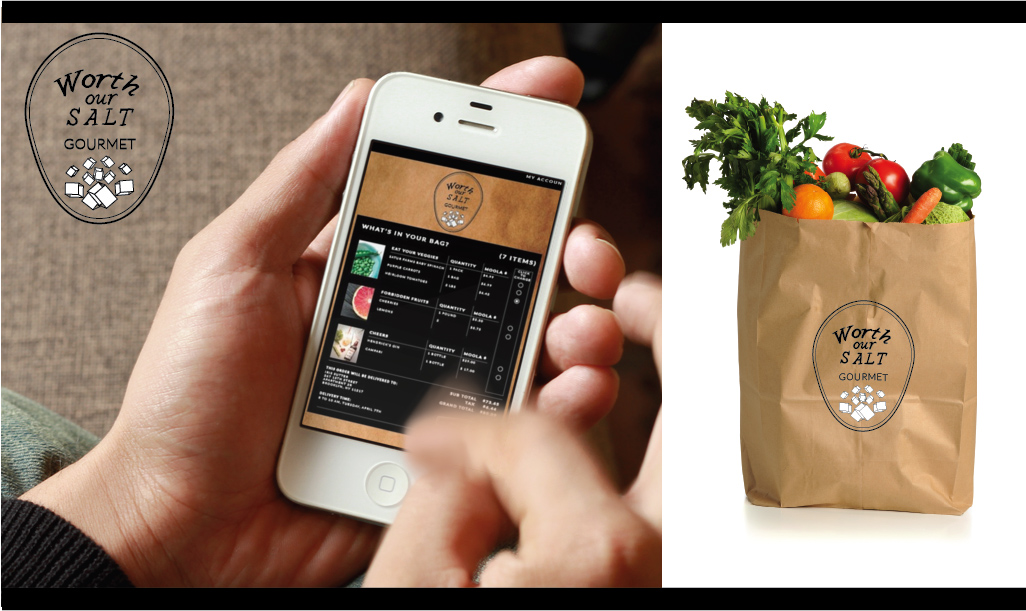 Context //  Worth Our Salt is a fictional gourmet grocery store that believes that good service is paramount.   Concept //  One of the ways that Worth our Salt delivers great service is through their app. This app is designed to draw as little attention to itself as possible. The same way that good service is unnoticed service, this app aims to deliver a seamless shopping experience, intuitive and uncluttered design. Once the customer's order is placed, it seems as if magically his groceries (in the bag showcased) arrive at his door.