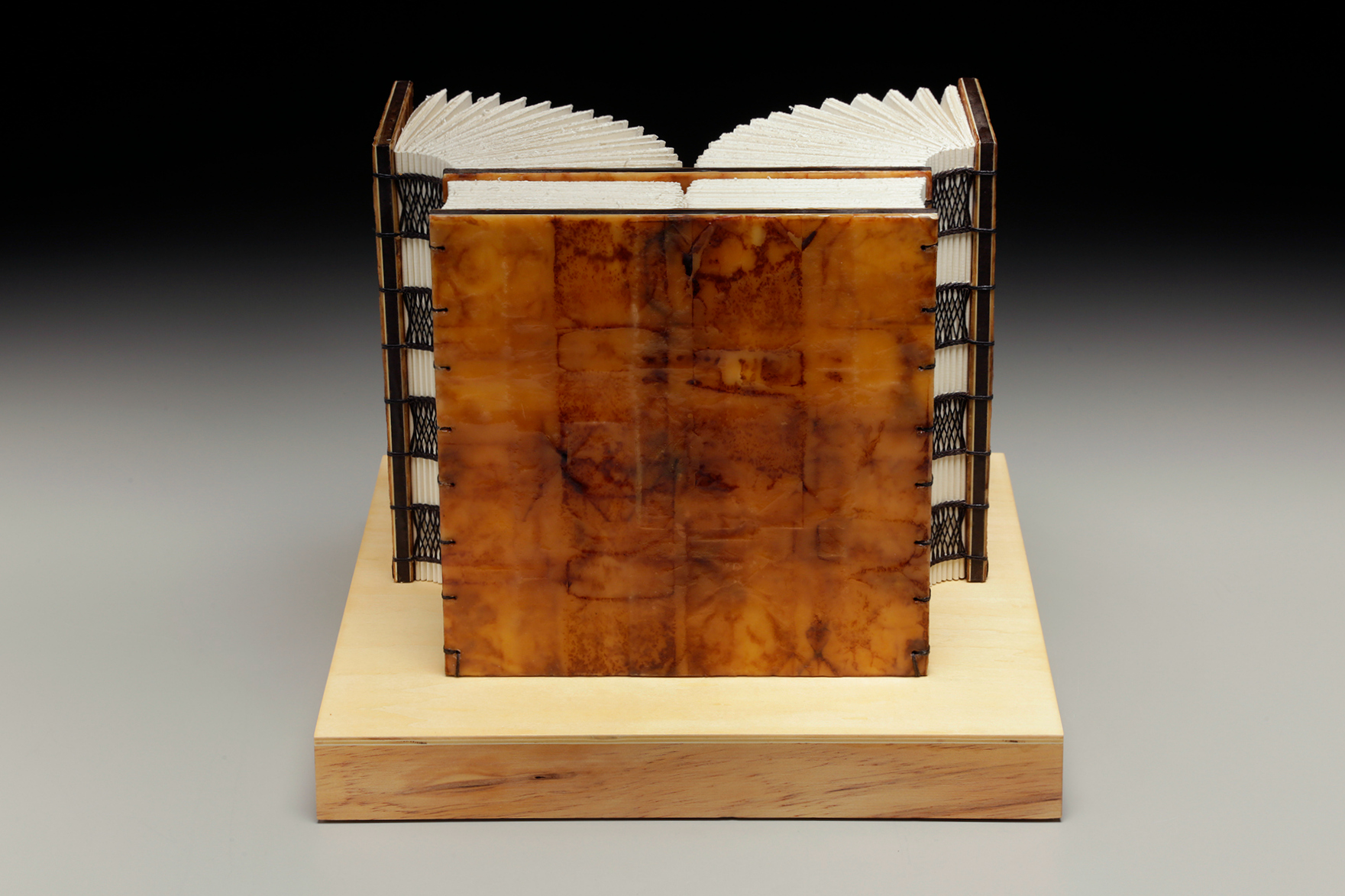 Beginning Now by Erin Keane : sculptural book : encaustic beeswax covers : 12 x 12 x 9.5 inches