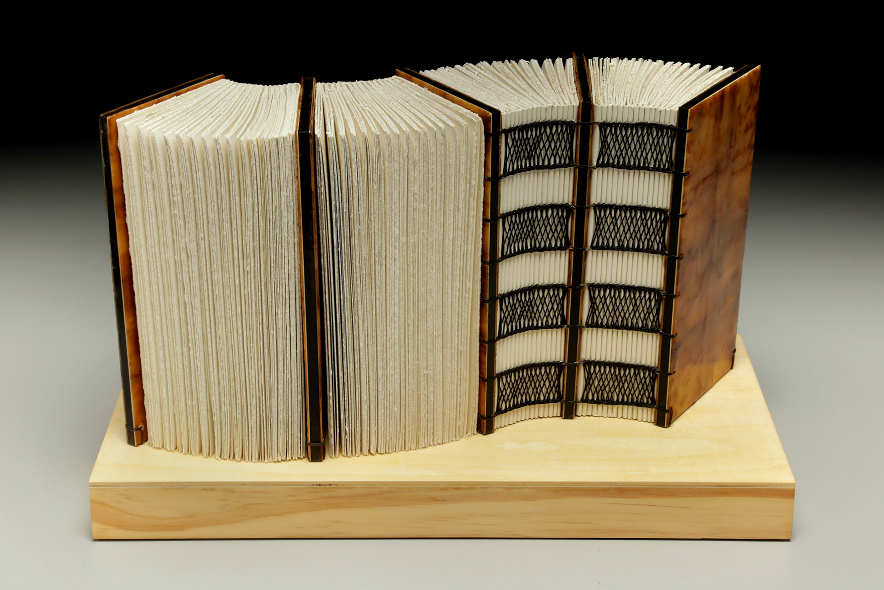 Flow Like Water by Erin Keane : sculptural book : encaustic beeswax covers : 16 x 8 x 9.5 inches
