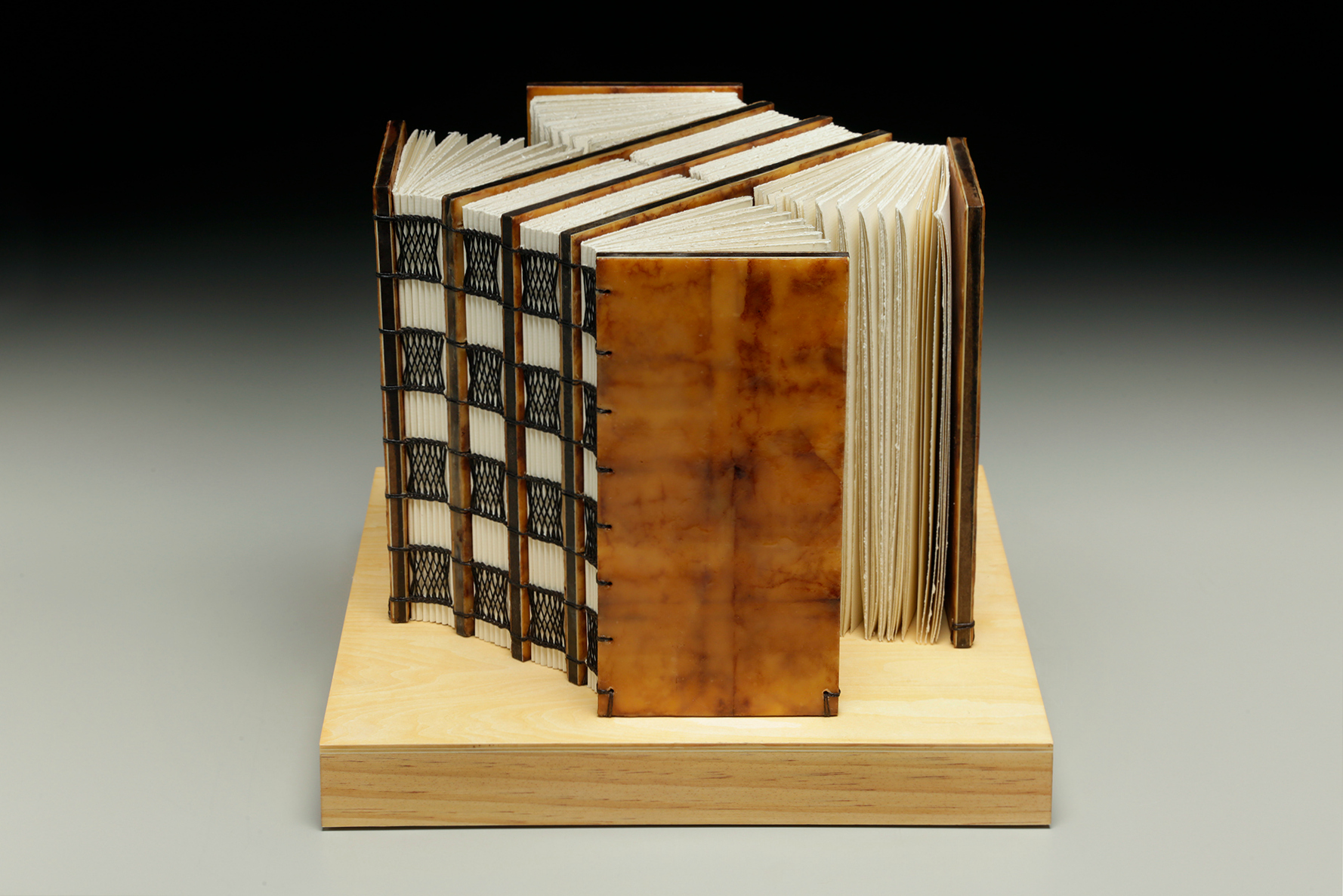 Ever Expanding by Erin Keane : sculptural book : encaustic beeswax covers : 12 x 12 x 9.5 inches