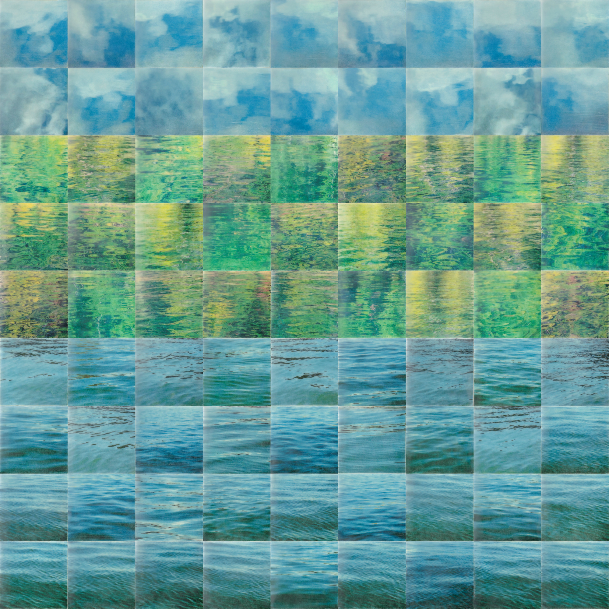 Lakescape by Erin Keane : photography with encaustic beeswax : 36 x 36 inches, framed