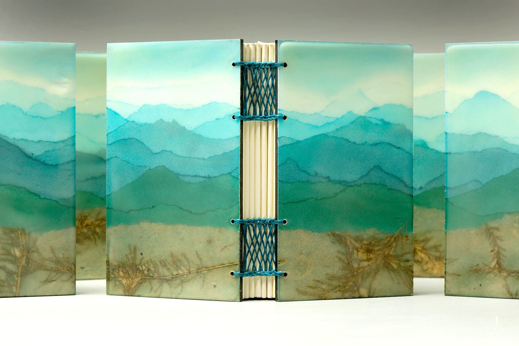 Blue Ridge Mountains by Erin Keane : panoramic landscape : encaustic beeswax covers