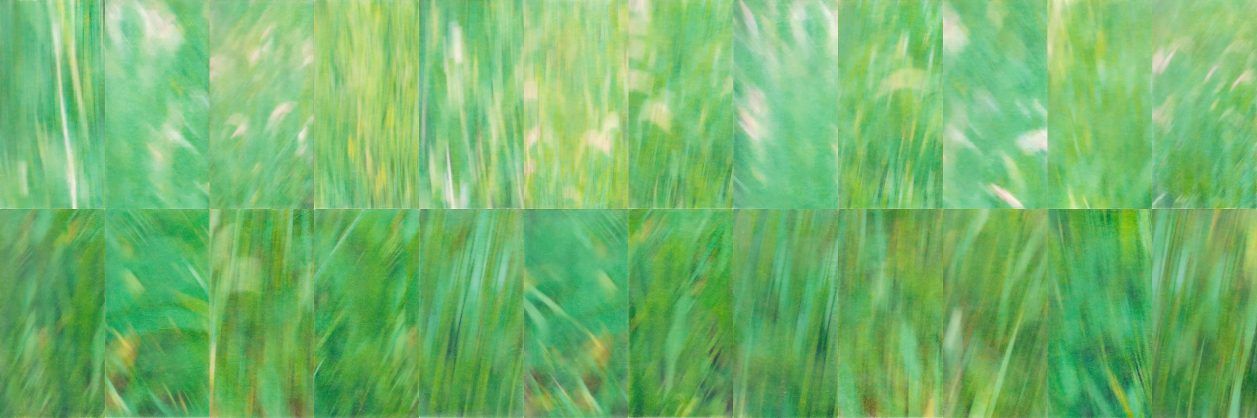 Meander by Erin Keane : photography with encaustic beeswax : 16 x 48 inches, framed
