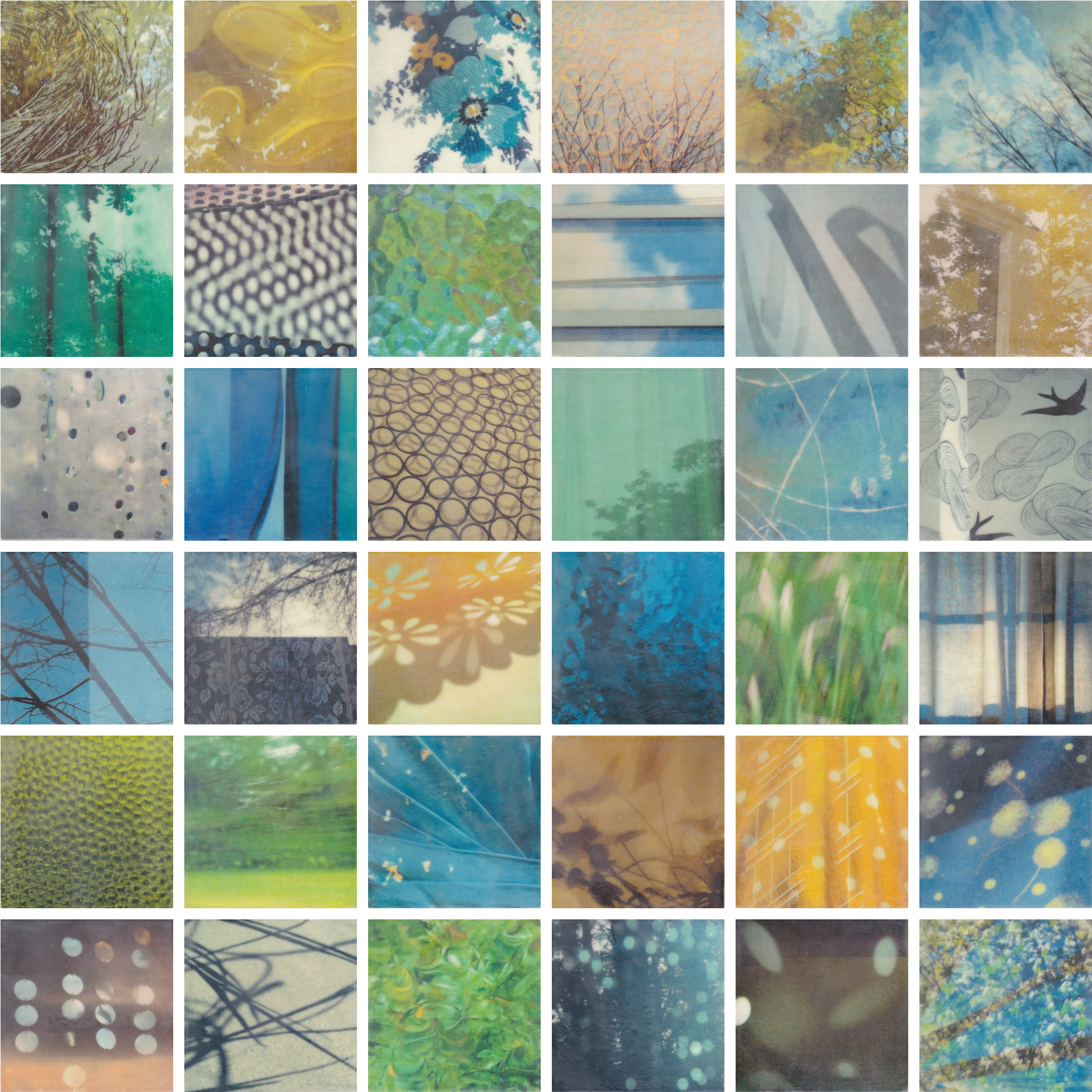 Glimpse by Erin Keane : photography with encaustic beeswax : 6 x 6 inches each