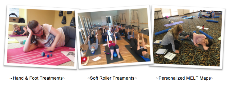 """The MELT Method is a simple self-treatment method that eliminates chronic pain, improves function & performance, and decreases the """"stuck stress"""" caused by the repetitive postures & movements of everyday living. MELT is the first neurofascial self-treatment designed to bring your body back to a more ideal state by directly enhancing body awareness, rehydrating connective tissue, and quieting the nervous system. The first time you MELT, you see and feel a difference; over time, you can transform how your body looks and feels!  Students will use specialized MELT Soft Rollers and MELT Hand & Foot Treatment Balls to simulate the results of manual therapy. These tools will help you reduce inflammation, ease chronic neck & low back strain, improve alignment, enhance fitness performance, and keep your whole body feeling great at any age. Come away from all Workshops, Class Session Series or Private Sessions with the tools, directions & skills needed to start the self-treatment plan that will improve your health so you can feel better right away!"""