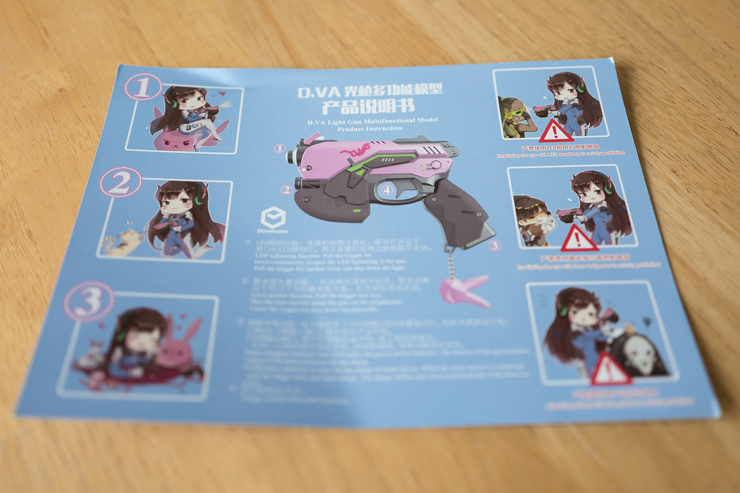 Cute instructions for gun use and the stand. Stand pieces are stickied onto the back of this.