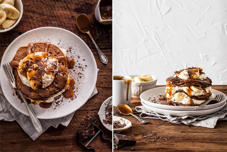 The Food Union - Chocolate Pancakes with Bananas & Caramel Sauce