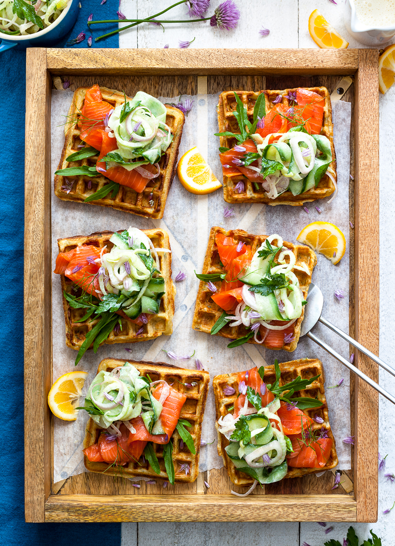 The Food Union - Herb Waffles with Smoked Salmon & Fennel Cucumb