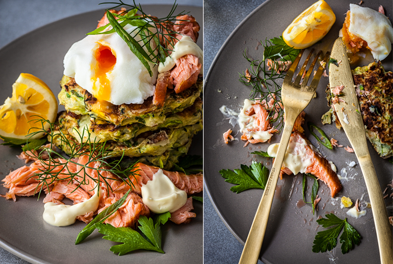 The Food Union - Zucchini Fritters with Hot Smoked Salmon