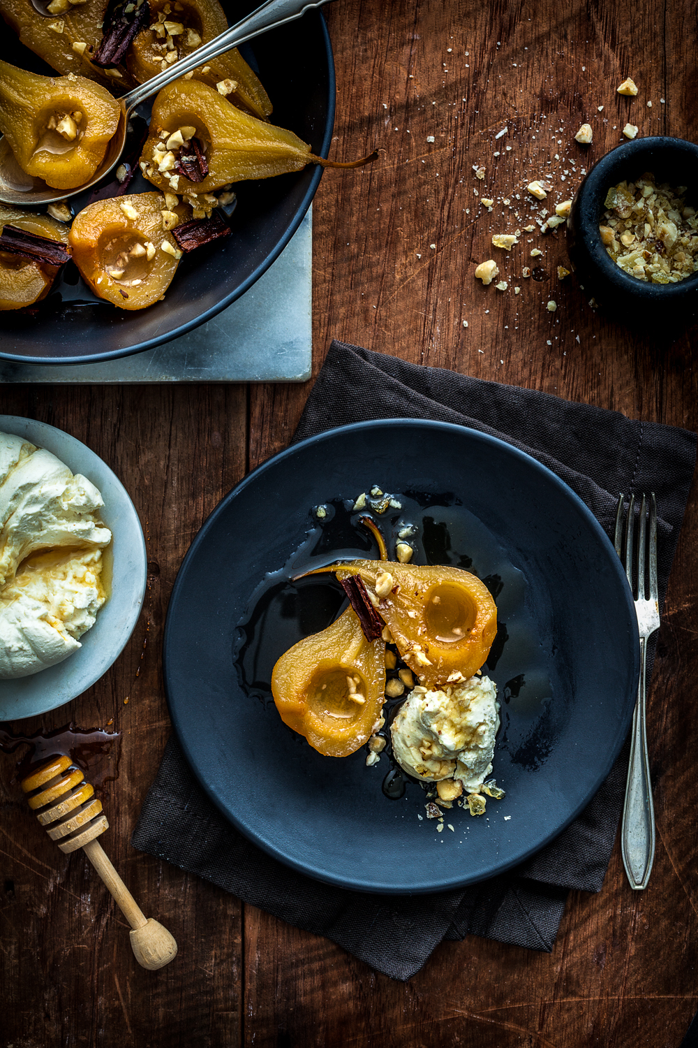 Roast pears with honey labne & candied hazelnuts