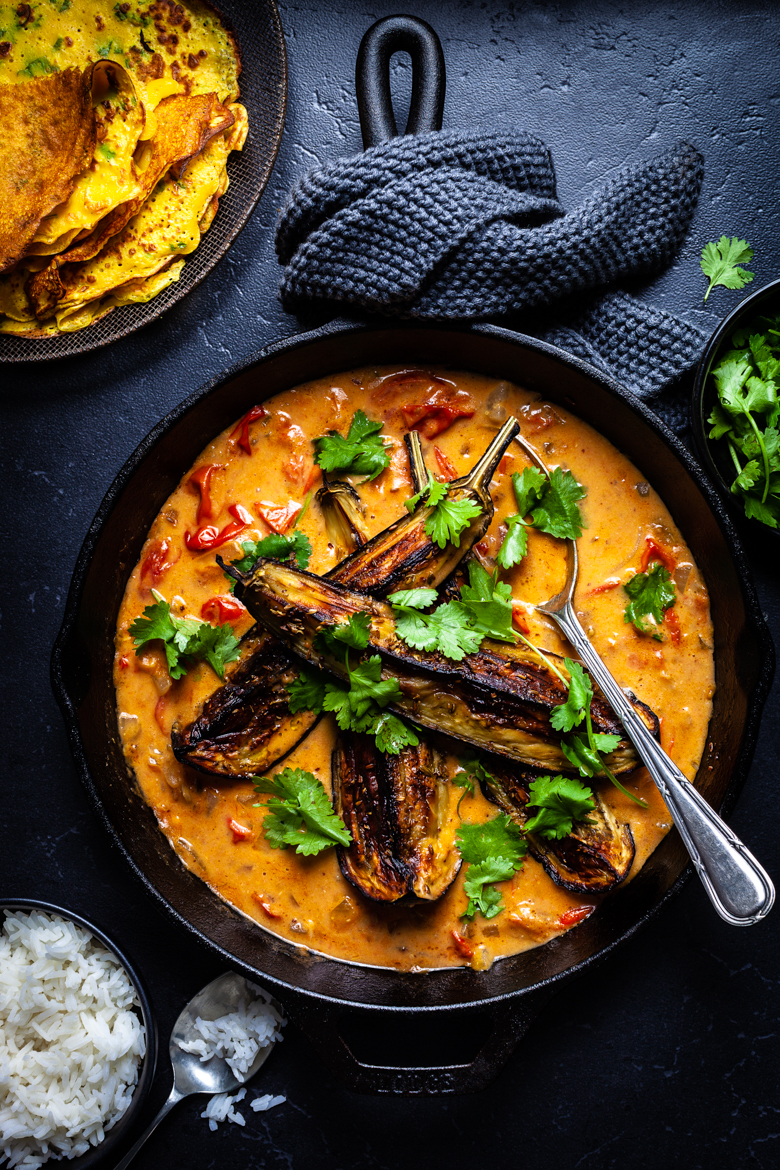 MM - Jan 2019 - Roast Eggplant with Tomato Coconut Curry and Cor