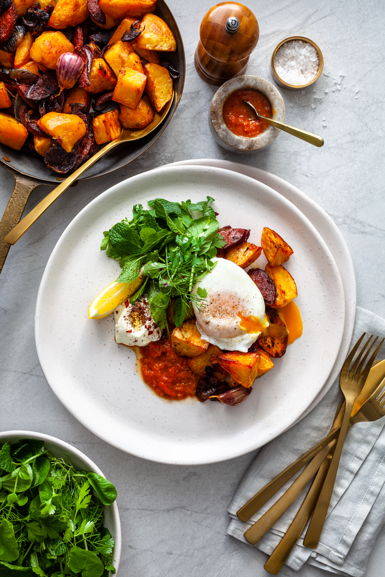 MM - Agria & Chorizo Hash with Eggs